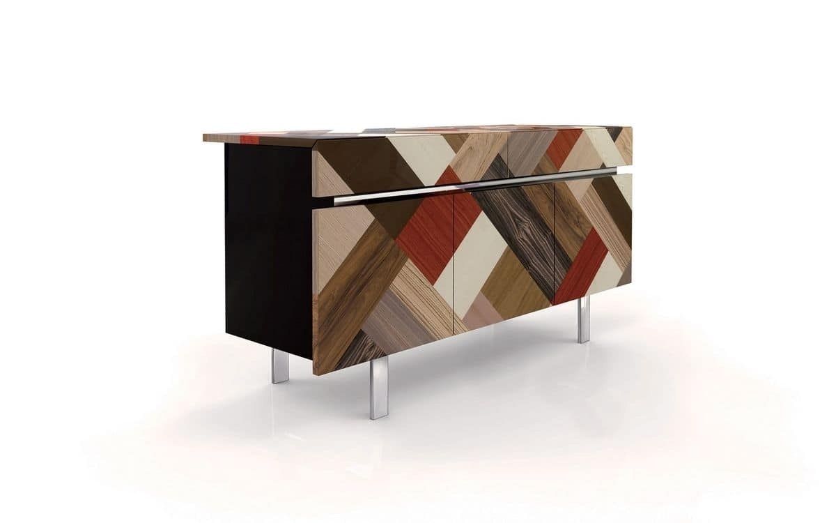 3 Doors Sideboard, 2 Drawers, Covering Handmaded | Idfdesign intended for Ironwood 4-Door Sideboards (Image 2 of 30)