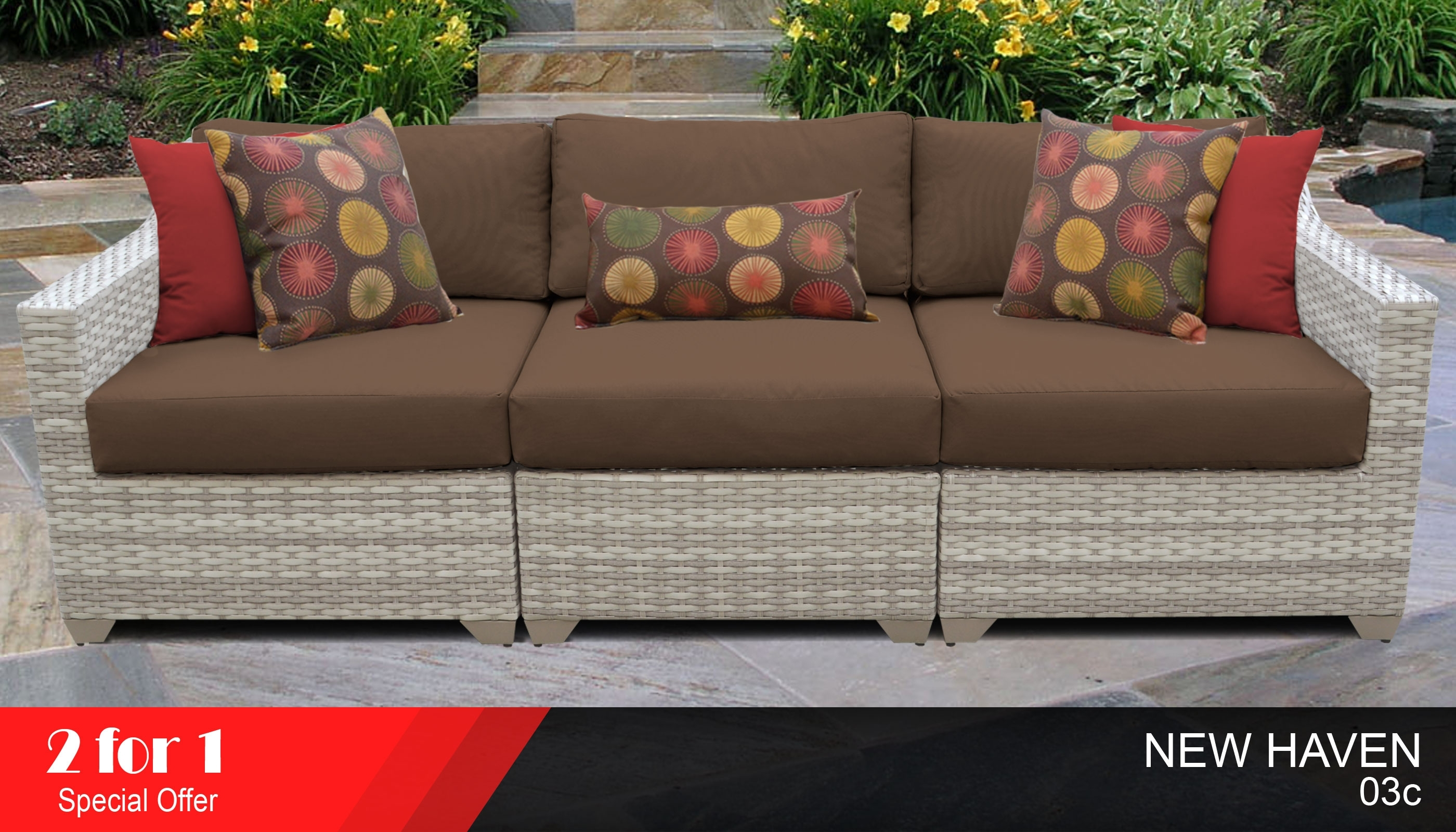3 Piece Outdoor Sofa Set | Outdoor Wicker Sectional Sofa for Haven 3 Piece Sectionals (Image 1 of 32)
