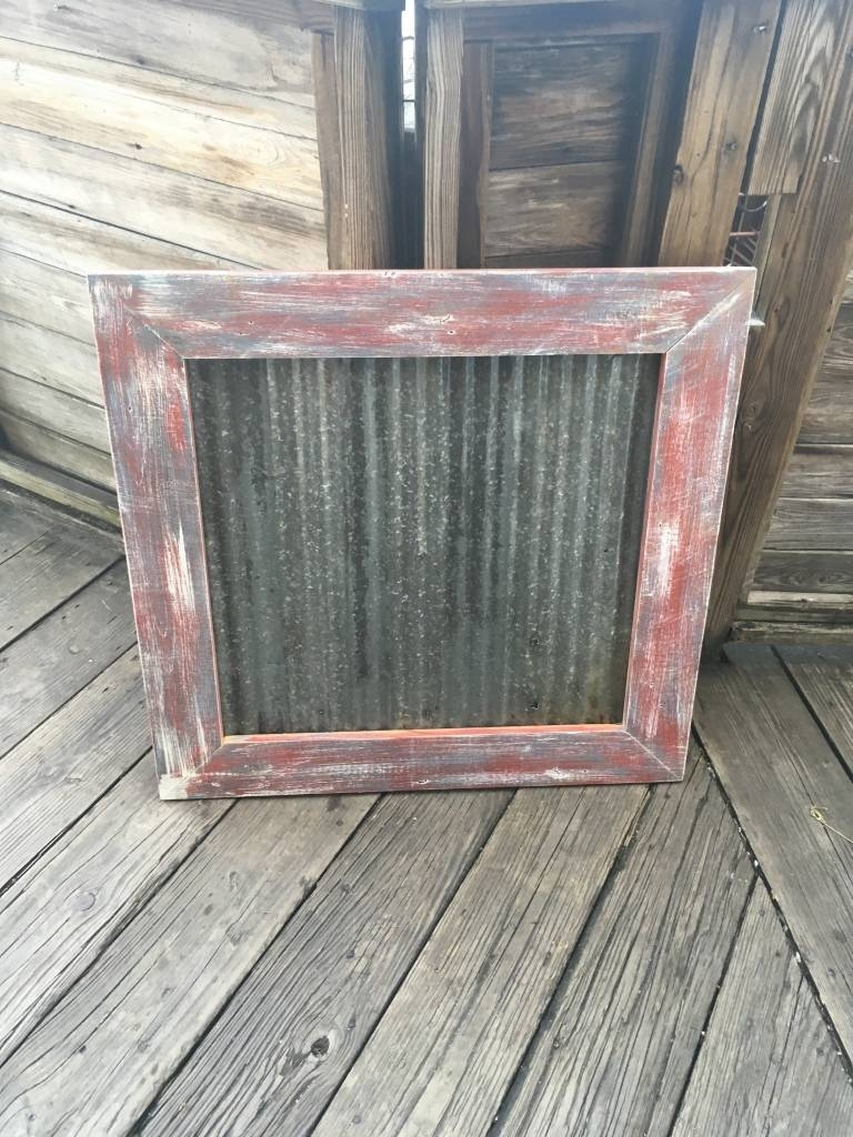 31X32 Framed Corrugated Metal Panel - Sarasota Architectural Salvage regarding Corrugated Metal Sideboards (Image 1 of 30)