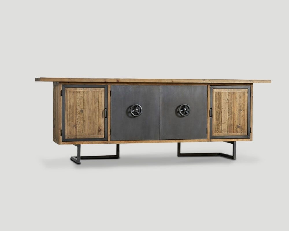 4-Door Sideboard In Recycled Old Wood, Naturale Finish, Metal for 4-Door/4-Drawer Metal Inserts Sideboards (Image 1 of 30)