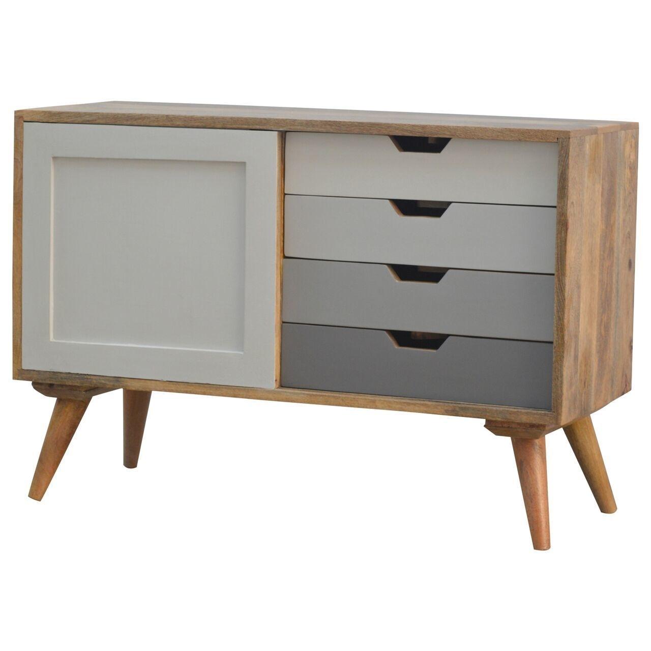 4 Drawer Mango Wood Cabinet With Sliding Door | Vinterior throughout Mango Wood Grey 4-Drawer 4-Door Sideboards (Image 2 of 30)