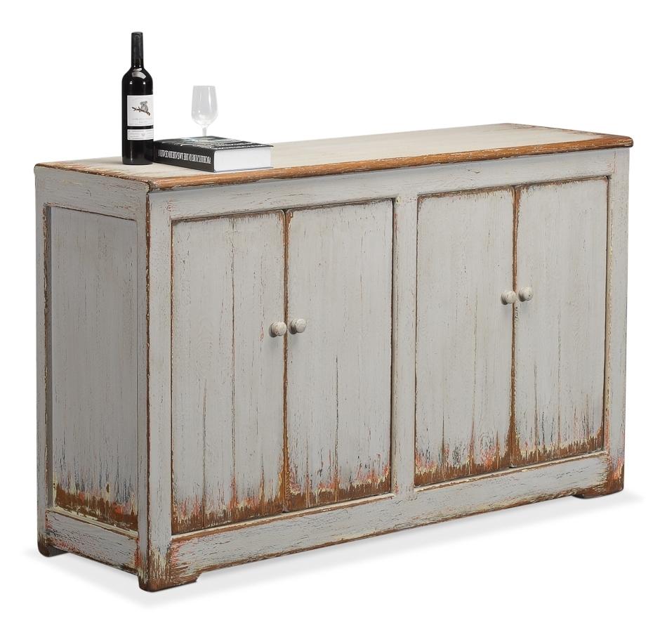 """62"""" Cinzia Cabinet Four Doors Reclaimed Solid Pine Wood Antique Dark For Reclaimed Pine 4 Door Sideboards (Photo 20 of 30)"""