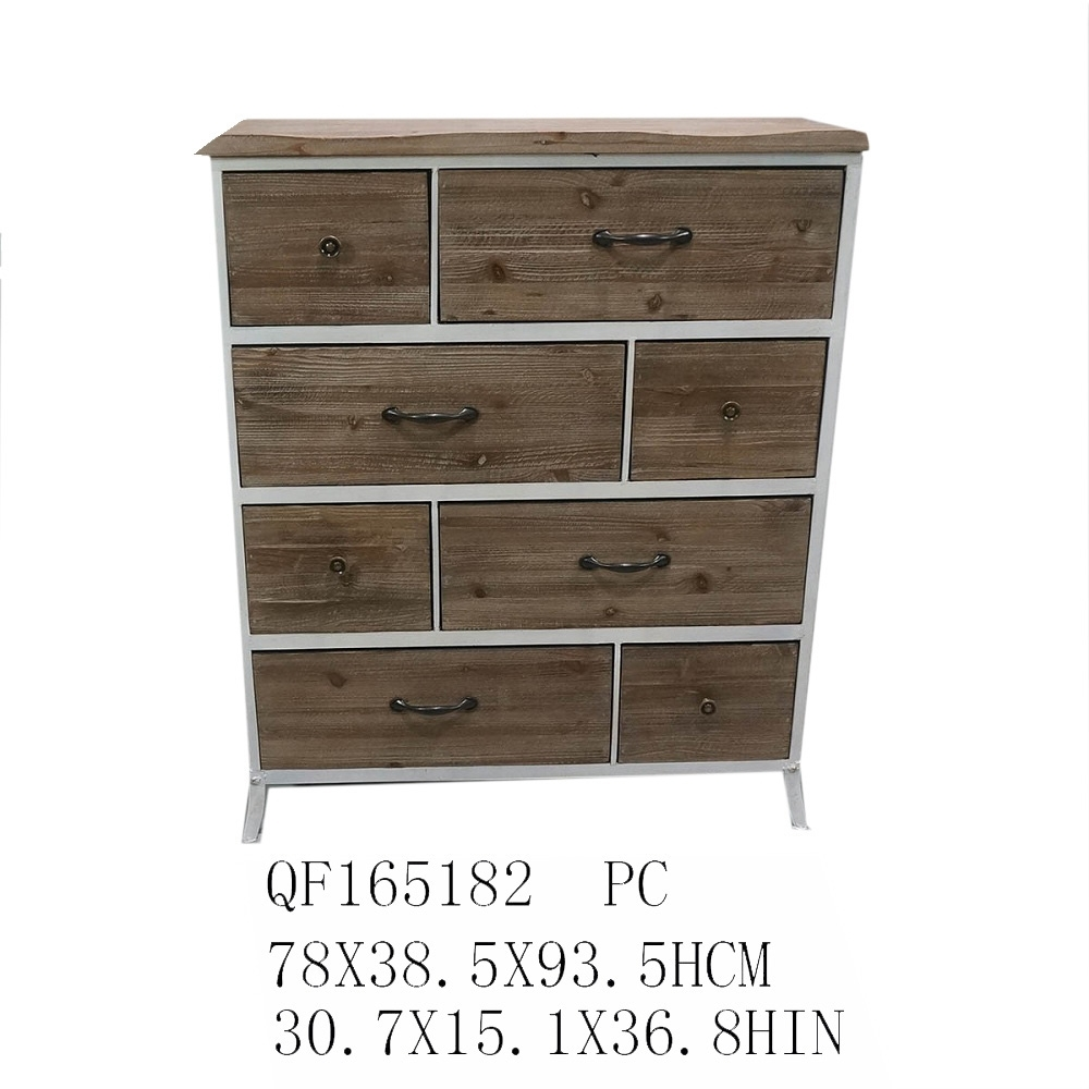 8 Drawers Metal Frame Antique Wooden Living Room Tall Cabinet for Corrugated Metal Sideboards (Image 2 of 30)
