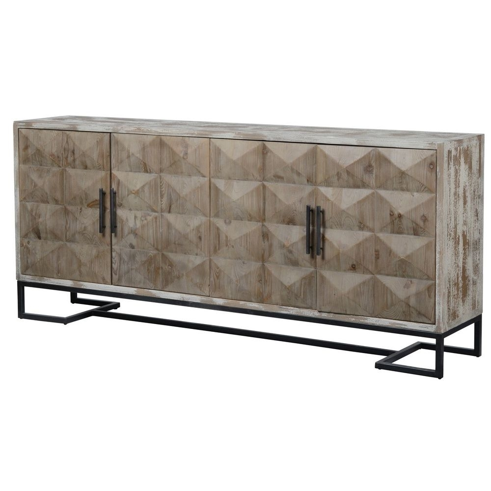 """84"""" Sideboard Buffet Cabinet Reclaimed Pine Distressed White Finish regarding Reclaimed Pine & Iron 4-Door Sideboards (Image 1 of 30)"""