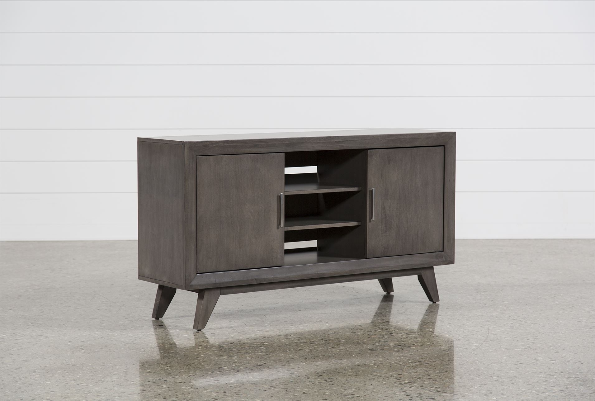 Abbott Driftwood 60 Inch Tv Console - Living Spaces | Living Room for Moraga Live Edge 8 Door Sideboards (Image 9 of 30)