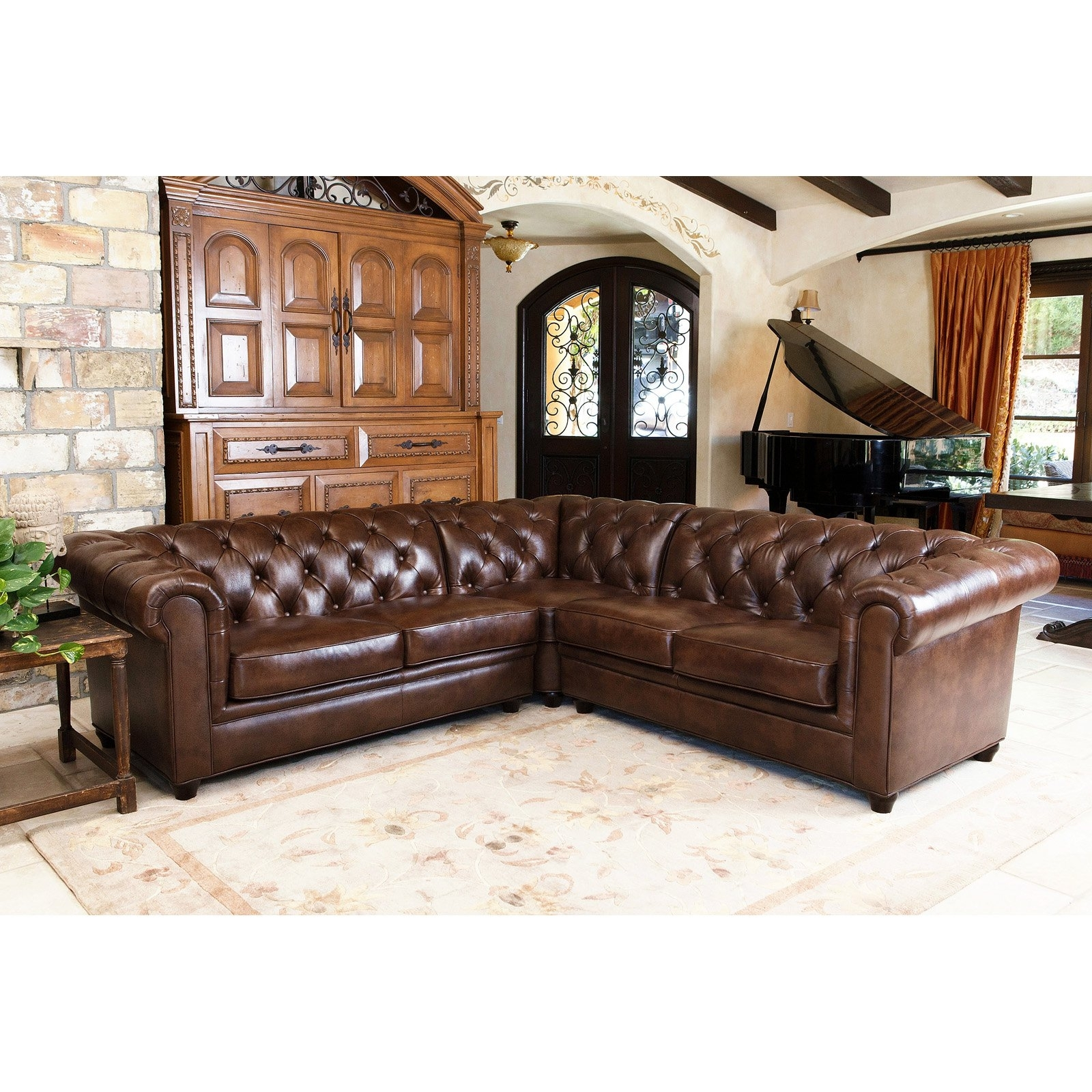 Abbyson Tuscan Top Grain Leather 3 Piece Sectional Sofa | Hayneedle regarding Norfolk Chocolate 6 Piece Sectionals (Image 2 of 30)