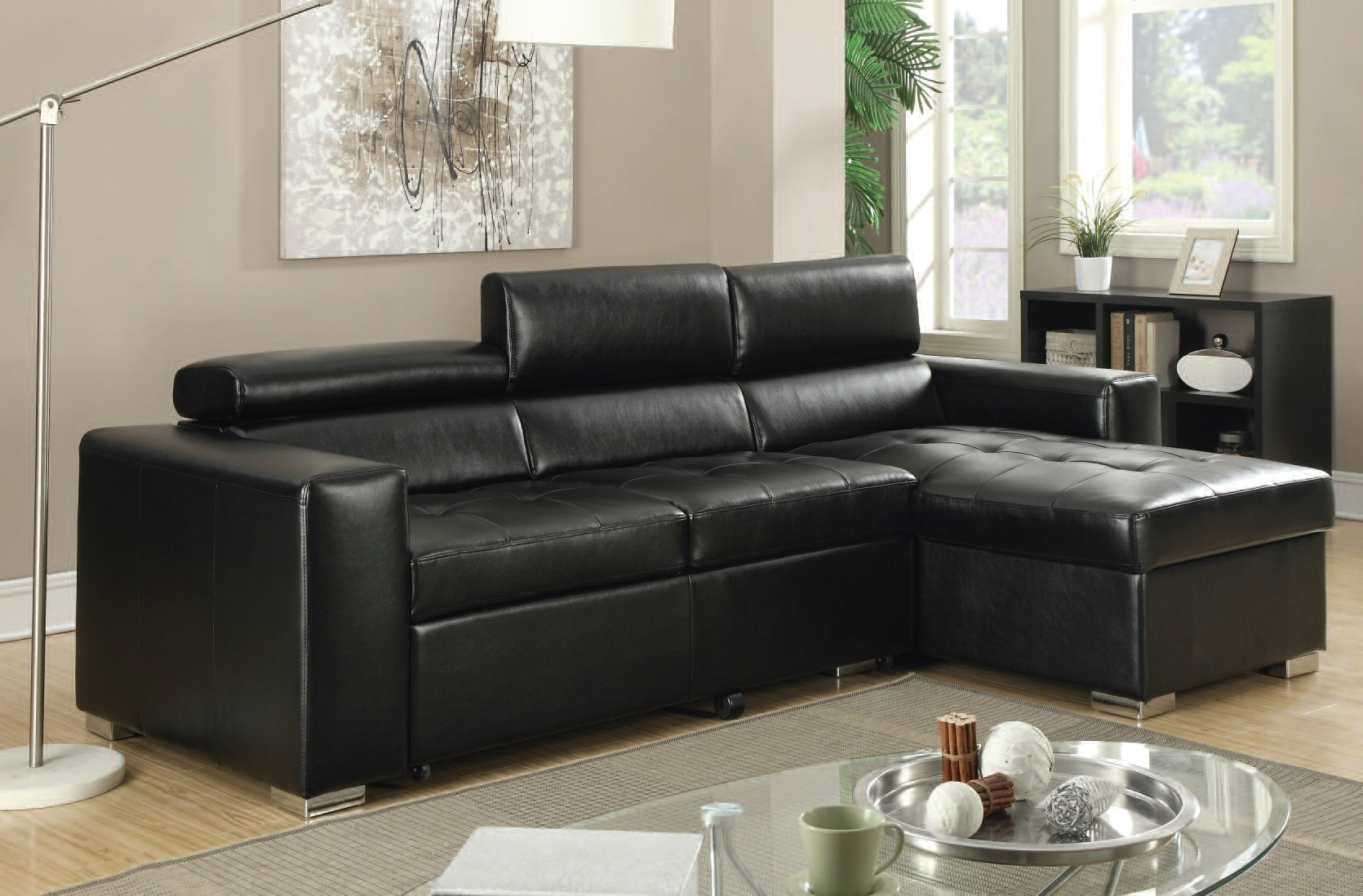 Acme Furniture Aidan Black Bonded Leather Sectional Sofa | The inside Aidan 4 Piece Sectionals (Image 2 of 30)