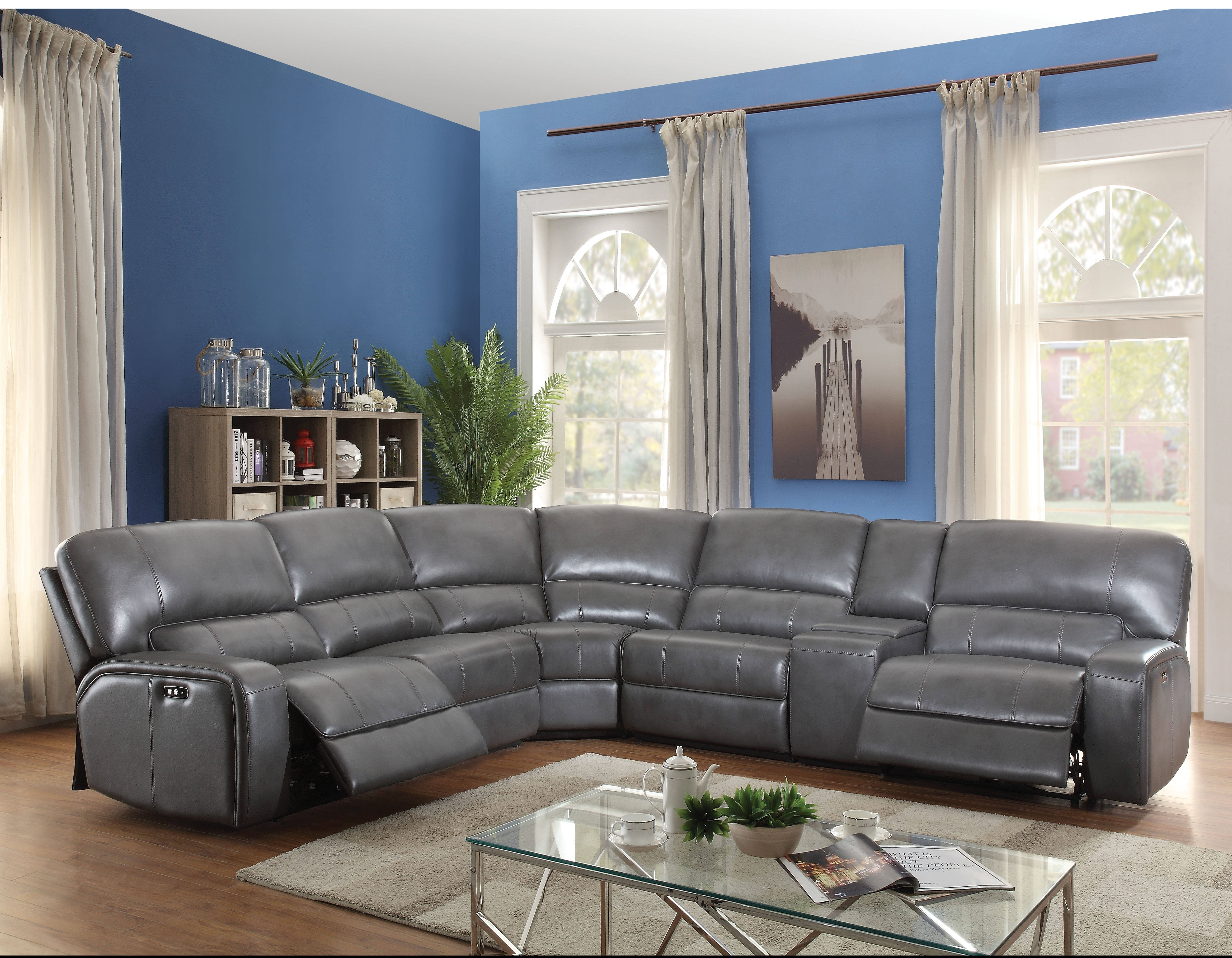 Acme Furniture Saul Gray Power Motion And Usb Dock Sectional Sofa regarding Kristen Silver Grey 6 Piece Power Reclining Sectionals (Image 1 of 30)