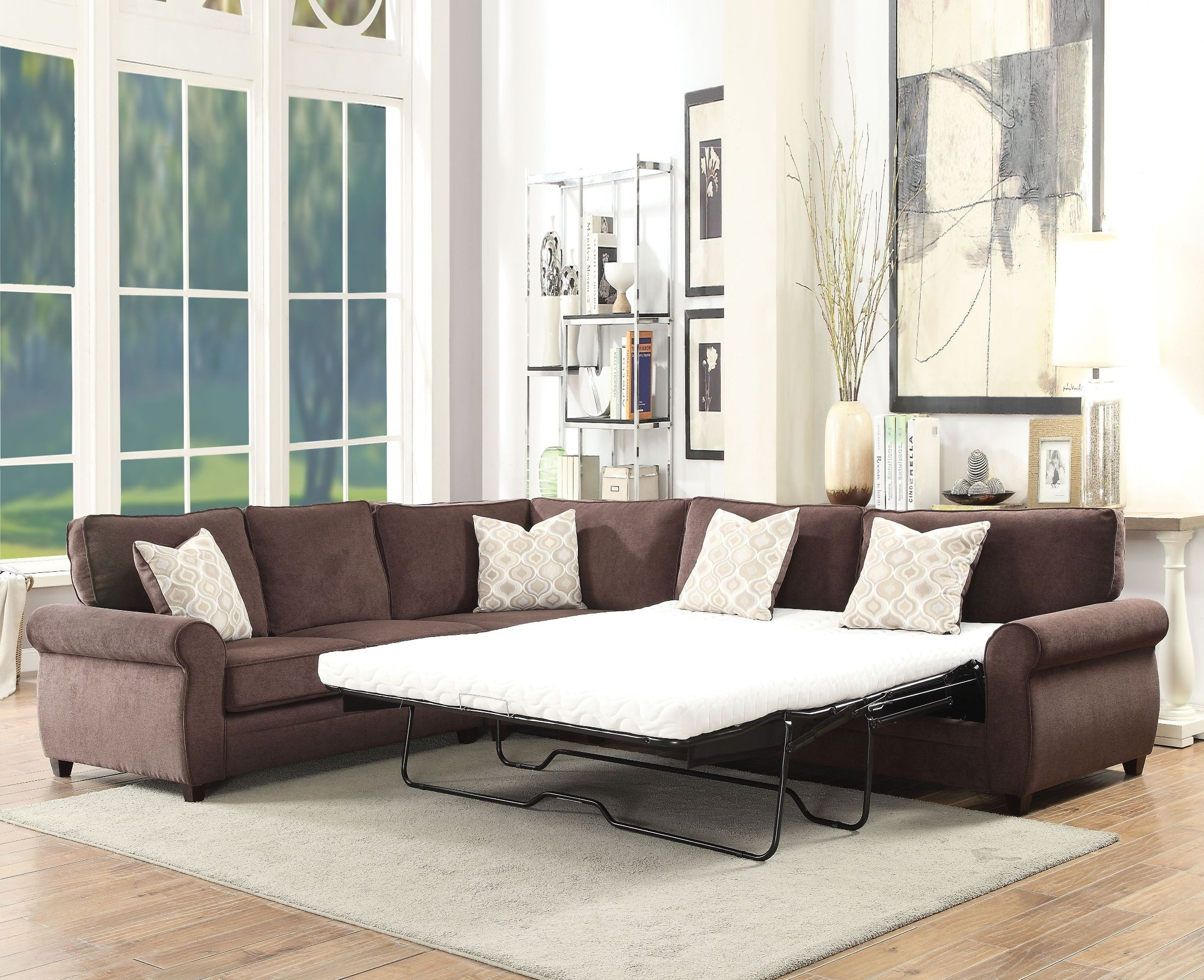 Acme Randolph Chocolate Chenille Sectional Sofa Sleeper – Randolph Inside Sierra Down 3 Piece Sectionals With Laf Chaise (View 3 of 30)