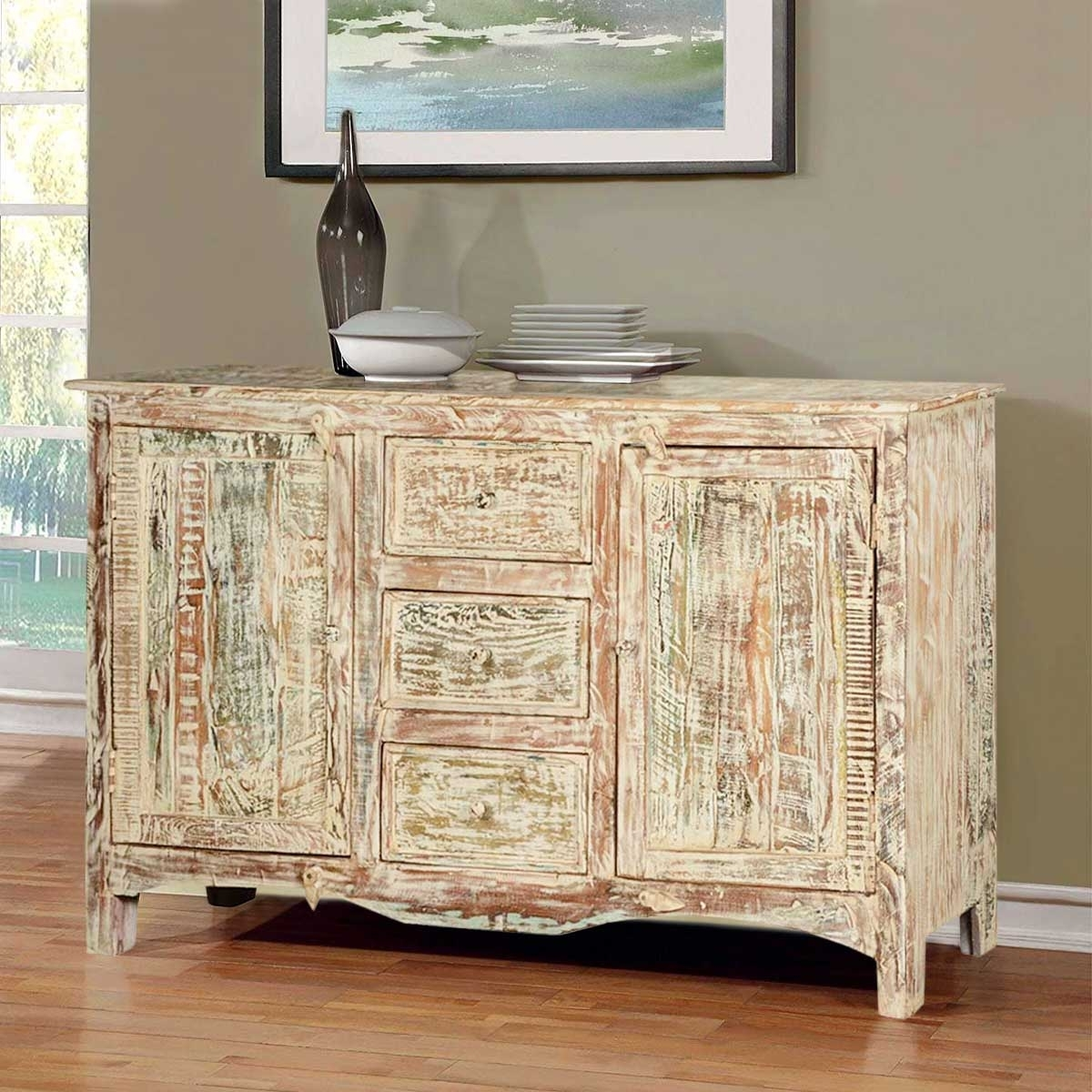 Adairville Distressed Mango Wood 3 Drawer Rustic Sideboard Cabinet pertaining to Antique White Distressed 3-Drawer/2-Door Sideboards (Image 3 of 30)