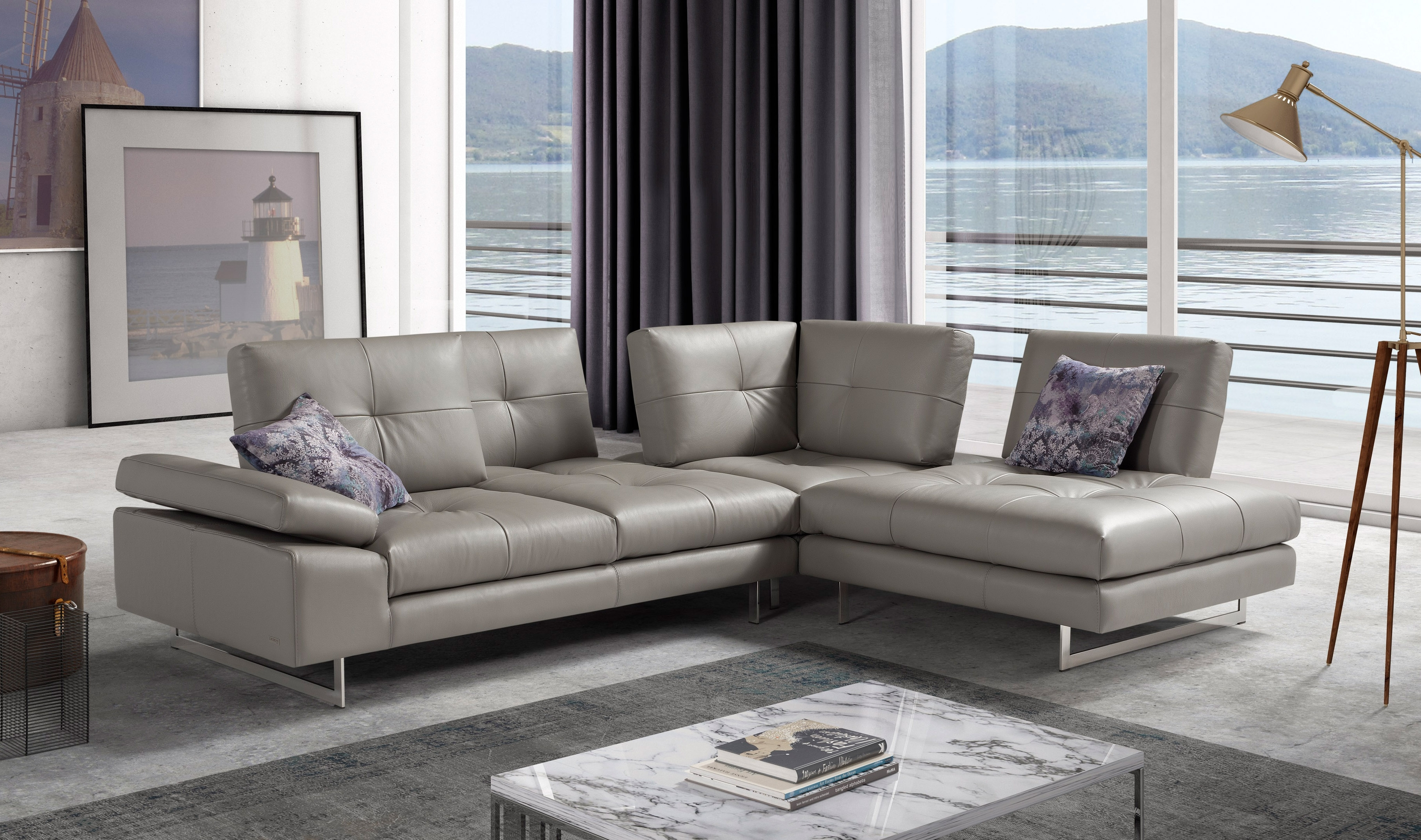 Advanced Adjustable Tufted Leather Sectional With Chaise Aurora in Aurora 2 Piece Sectionals (Image 2 of 30)