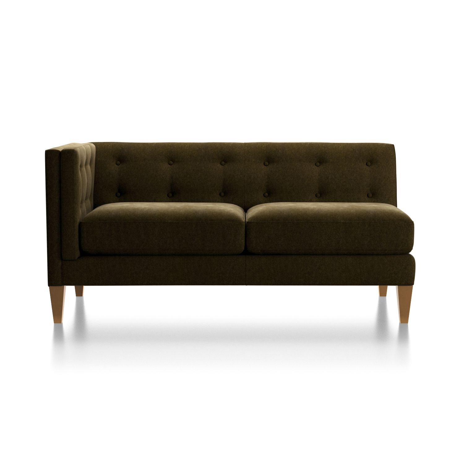 Aidan Velvet Left Arm Tufted Loveseat + Reviews | Crate And Barrel in Aidan 4 Piece Sectionals (Image 7 of 30)