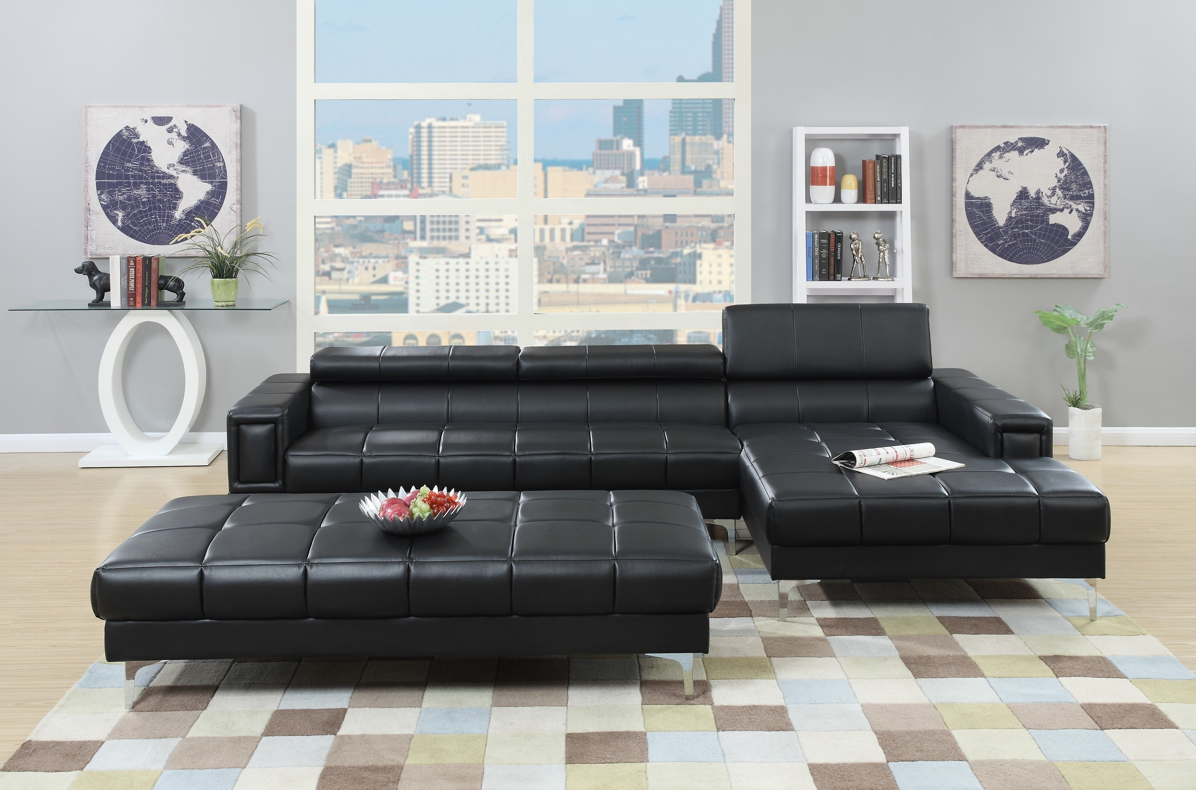 A&j Homes Studio Celine Genuine Leather Sectional & Reviews | Wayfair pertaining to Blaine 3 Piece Sectionals (Image 1 of 30)