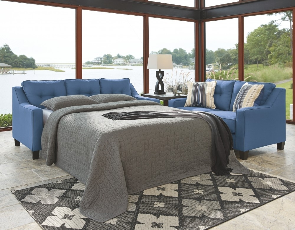 Aldie Nuvella - Blue - Queen Sofa Chaise Sleeper | 6870368 | Sleeper for Lucy Grey 2 Piece Sleeper Sectionals With Laf Chaise (Image 2 of 30)