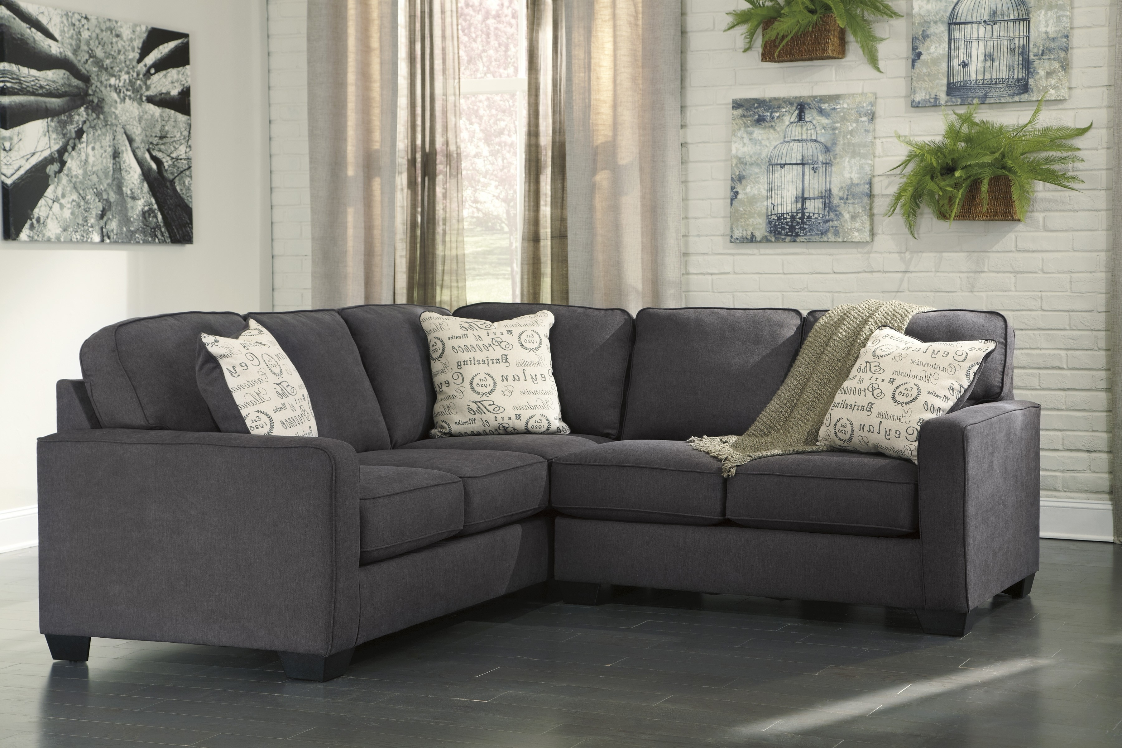 Alenya Charcoal Piece Sectional Sofa For Furnitureusa Raf Love Tures with regard to Evan 2 Piece Sectionals With Raf Chaise (Image 4 of 30)