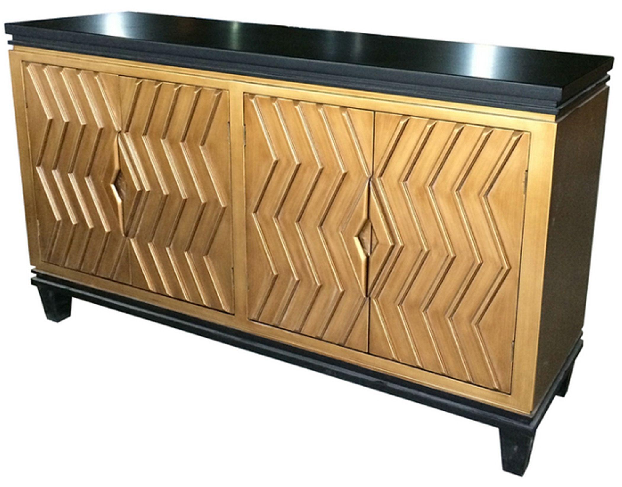 Alessio Art Deco Sideboard 4 Doors, Black/gold Material: Mdf inside Brown Chevron 4-Door Sideboards (Image 2 of 30)