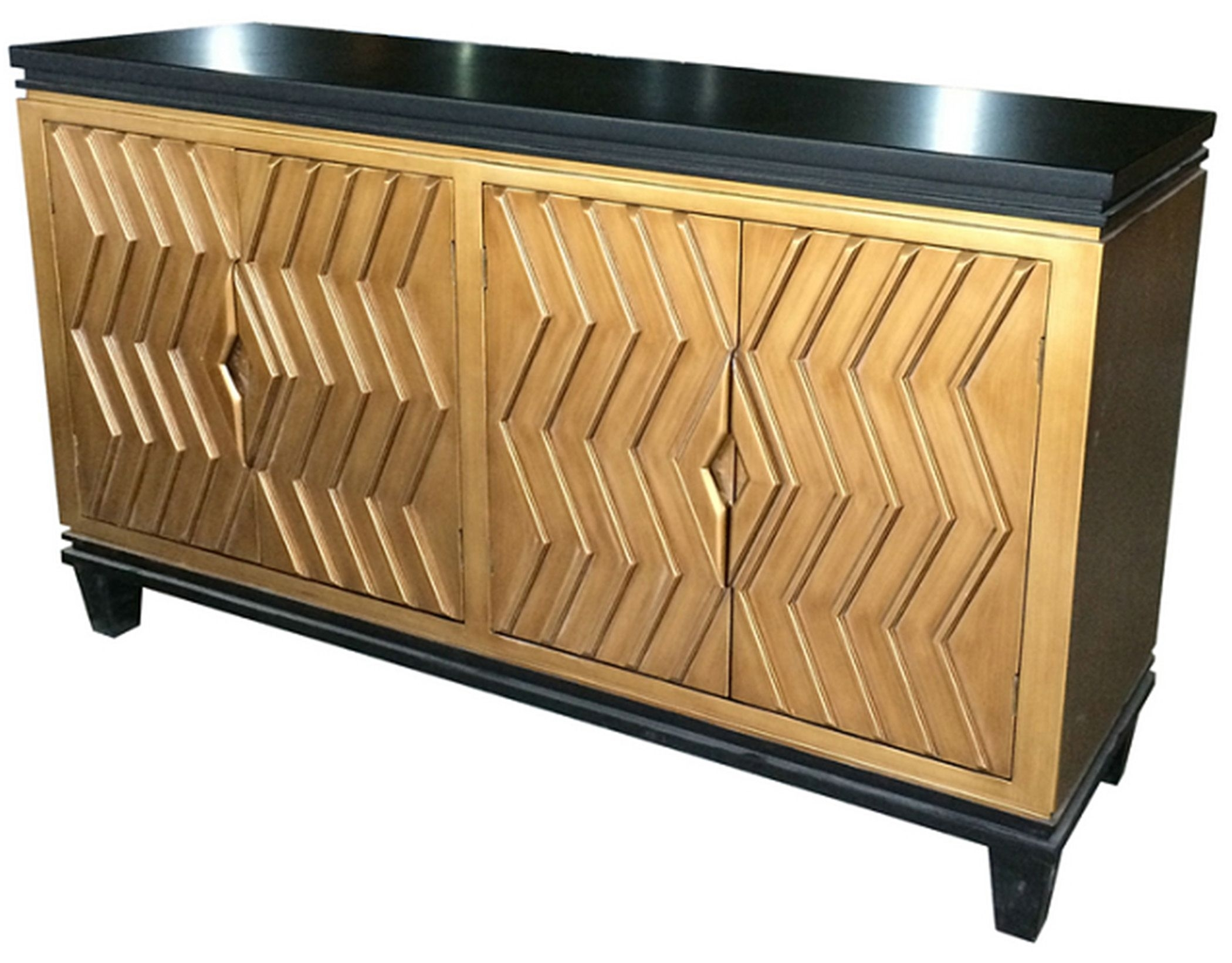Alessio Art Deco Sideboard 4 Doors, Black/gold Material: Mdf throughout Dark Smoked Oak With White Marble Top Sideboards (Image 2 of 30)