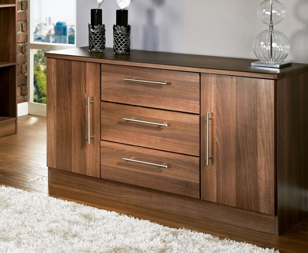 Alora Walnut 2 Door 3 Drawer Sideboards Small Sideboard - Mysmallspace throughout Walnut Small Sideboards (Image 2 of 30)