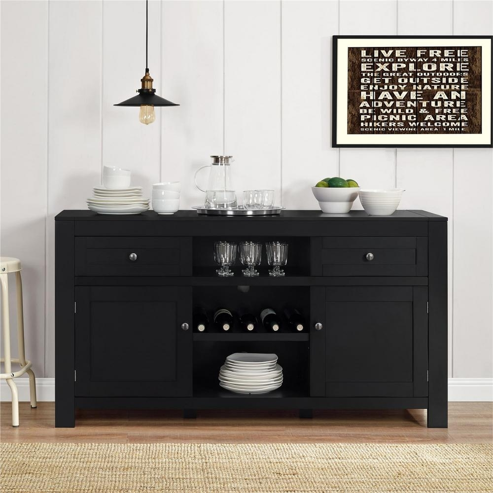 Altra Furniture Hadley Black Buffet With Wine Storage-1787096Pcom in Walnut Finish Crown Moulding Sideboards (Image 2 of 30)