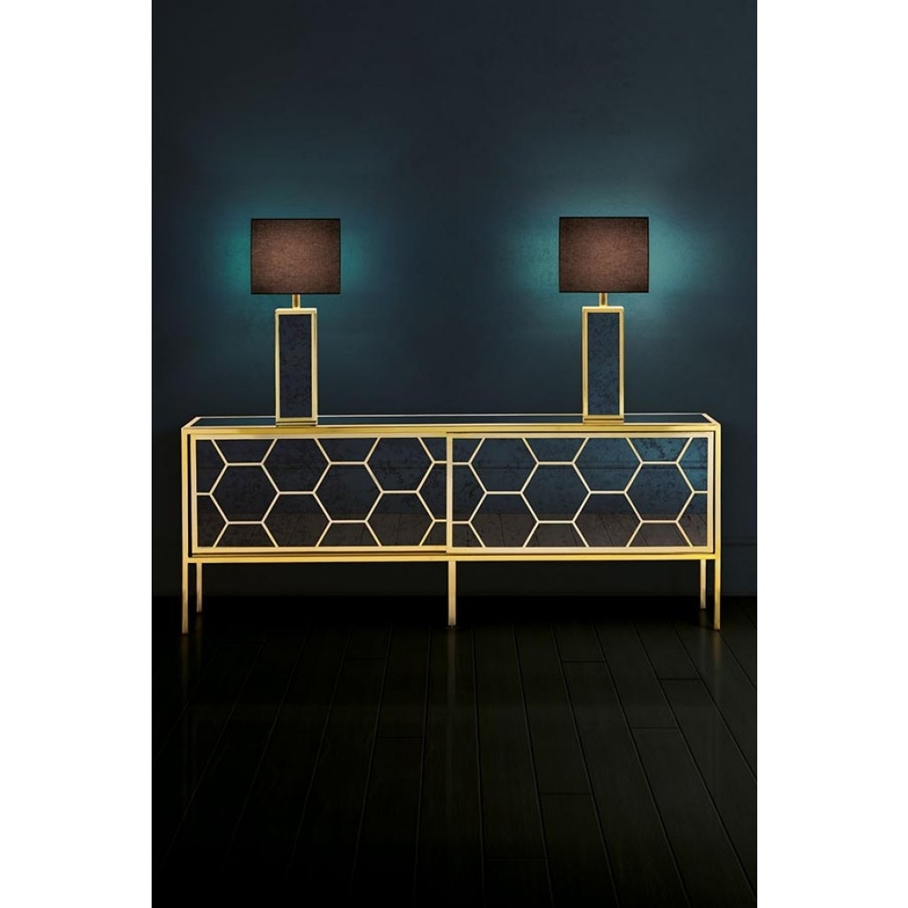 Alveare Sideboard Brass And Antique Hexagonal Mirror | My Furniture with Vintage 8 Glass Sideboards (Image 4 of 30)