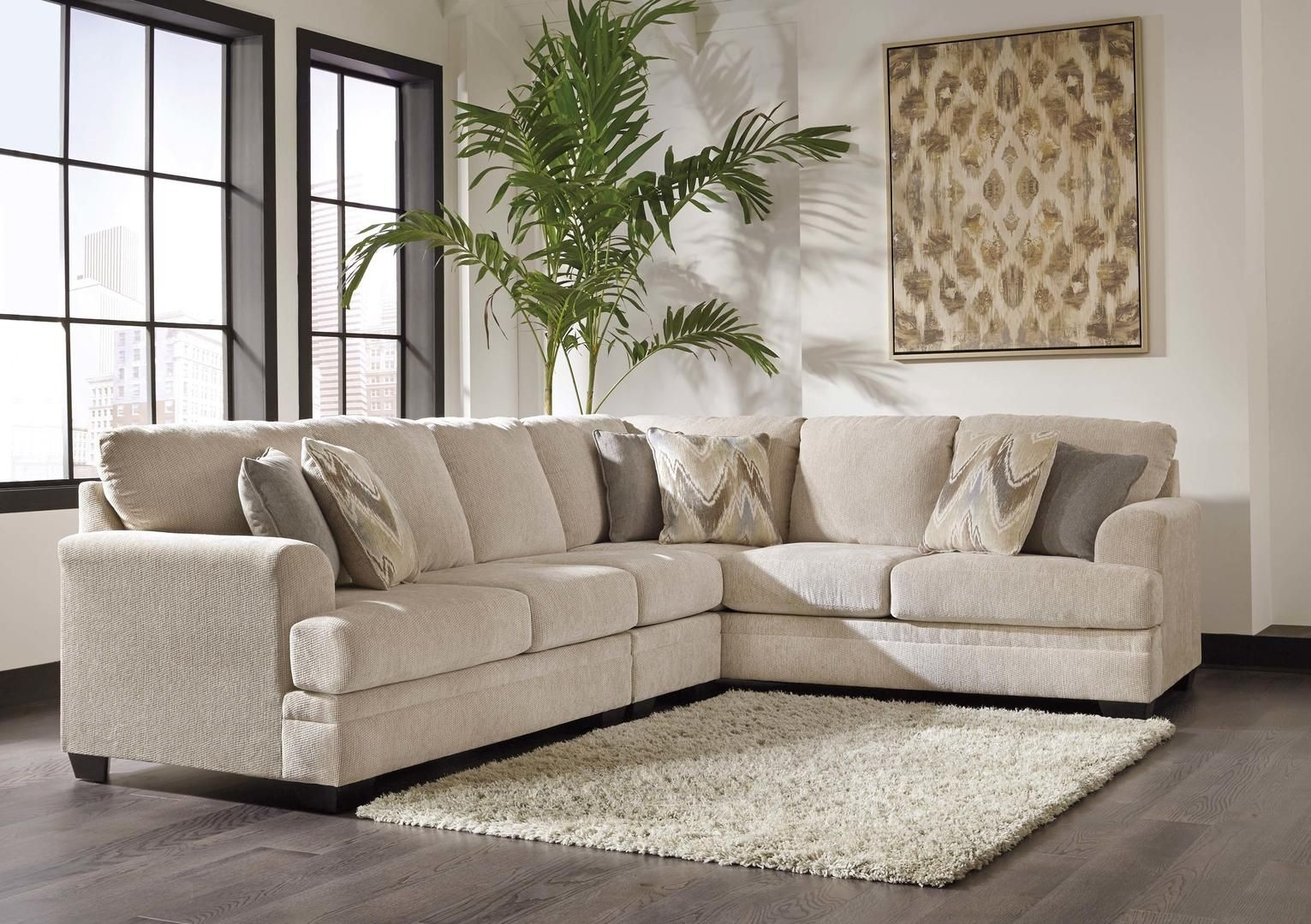 Ameer 81806 55 46 67 3 Piece Fabric Sectional Sofa With Left Arm With Regard To Malbry Point 3 Piece Sectionals With Laf Chaise (View 7 of 30)