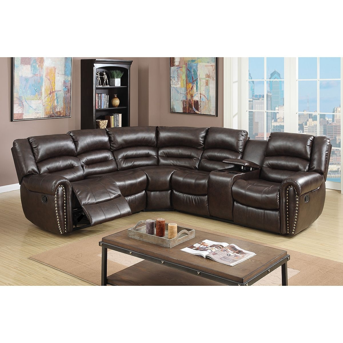 American Eagle Furniture Ek-Lb309-Dc Dark Chocolate Sofa C in Tenny Dark Grey 2 Piece Left Facing Chaise Sectionals With 2 Headrest (Image 4 of 30)