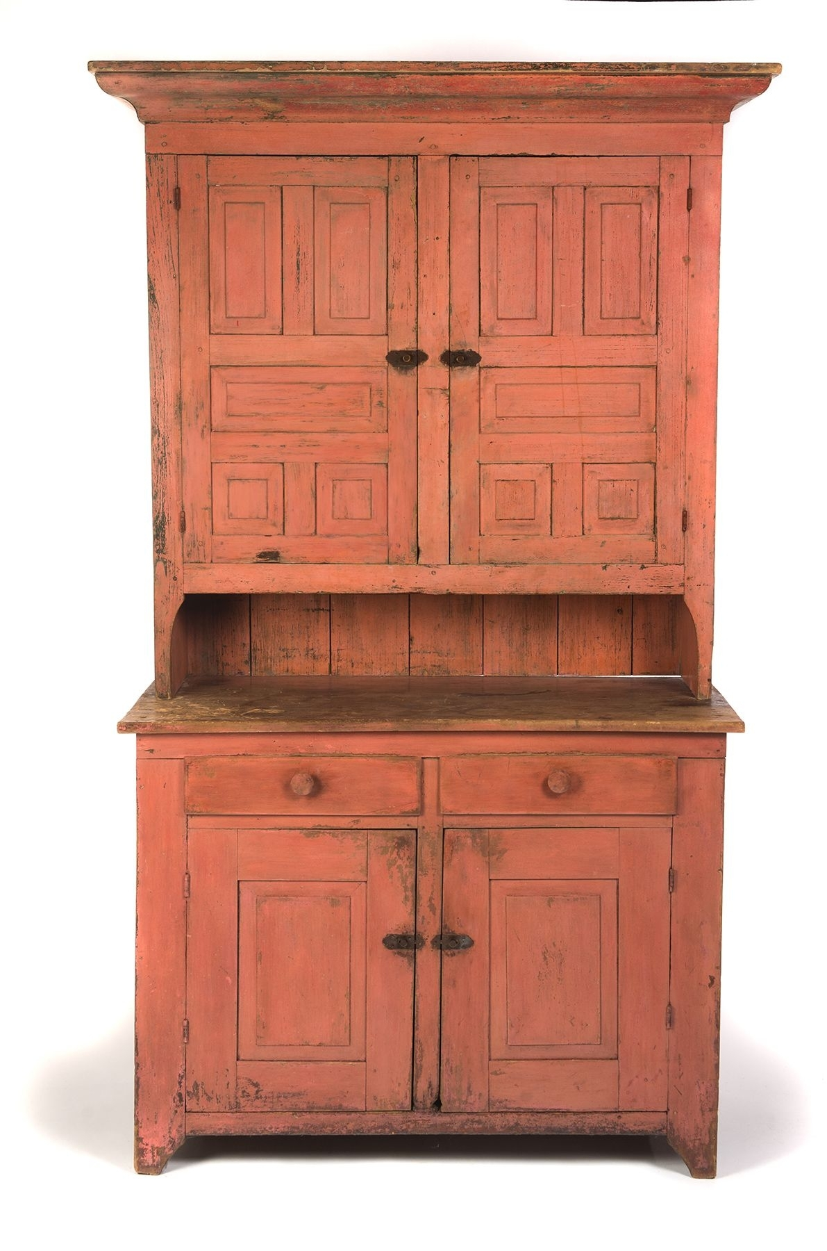American Painted Stepback Cupboard. Ca 1840-50, Pine. Two-Piece for Iron Pine Sideboards (Image 1 of 30)