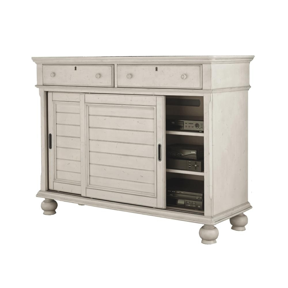 American Woodcrafters Newport 2-Drawer Antiquewhite Birch Sliding pertaining to Antique White Distressed 3-Drawer/2-Door Sideboards (Image 4 of 30)