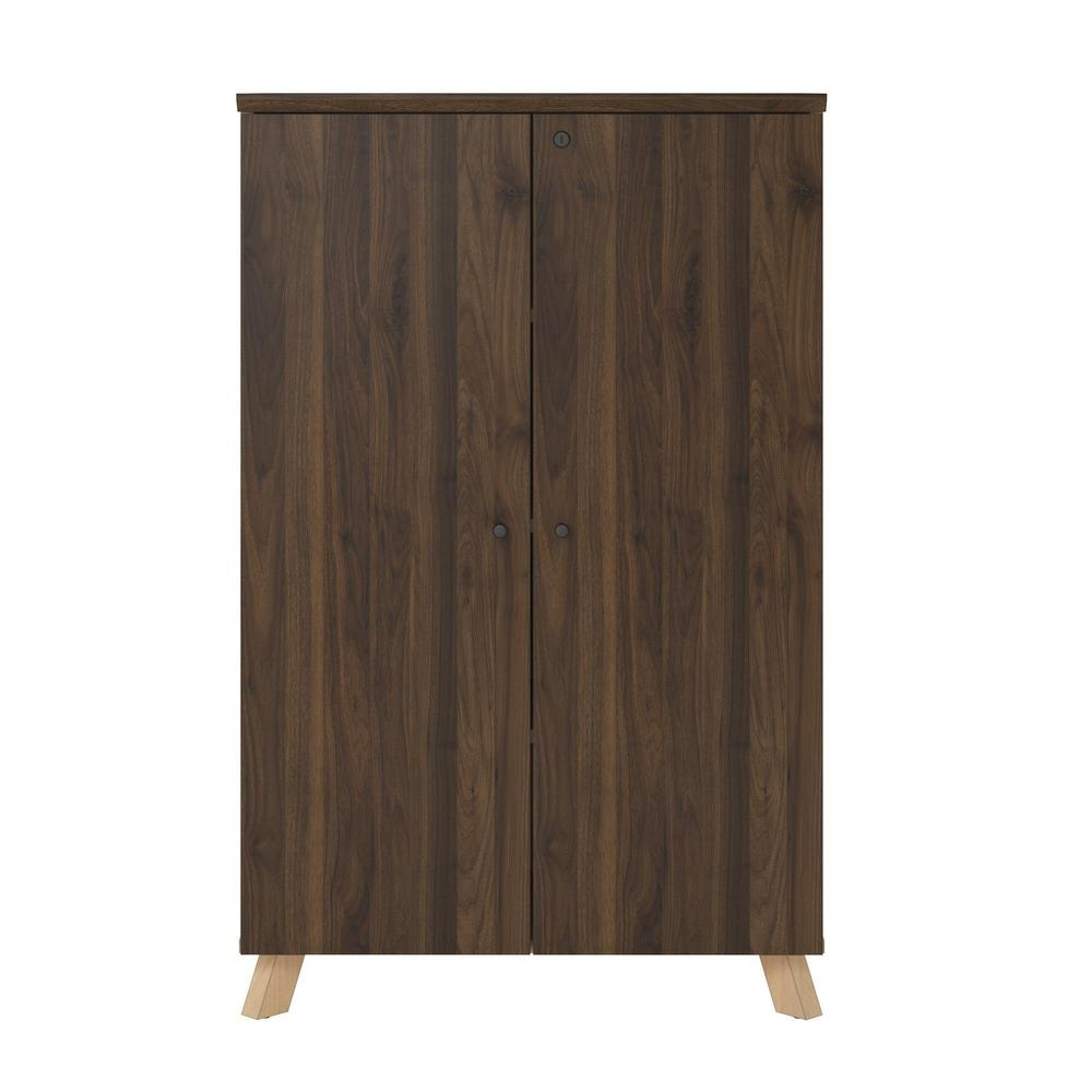 Ameriwood Ax1 Walnut Storage Cabinet-9293096Com - The Home Depot for Walnut Finish Crown Moulding Sideboards (Image 3 of 30)