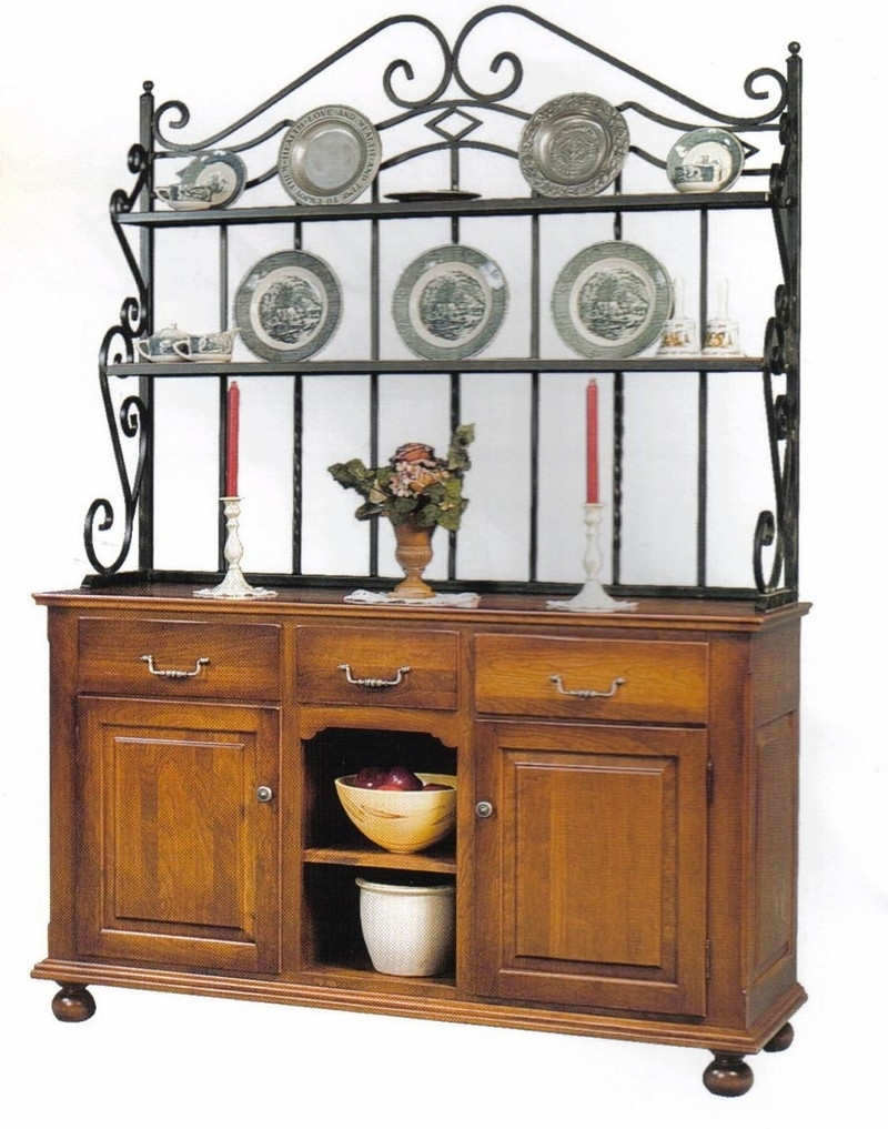 Amish Heirloom Sideboard Bakers Rack Furniture With 2 Tiers Cast with Black Oak Wood and Wrought Iron Sideboards (Image 1 of 30)