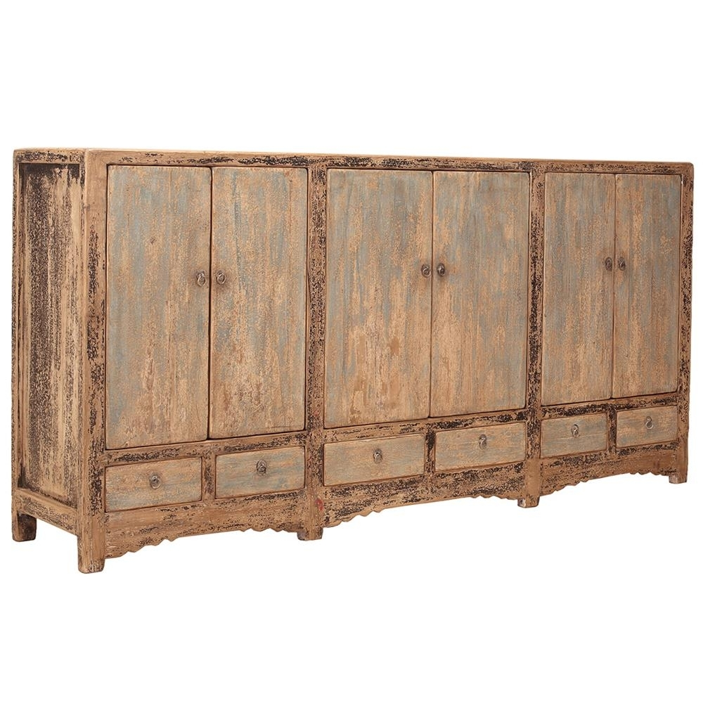 Amy Rustic Lodge Pine 6 Door Sideboard | Kathy Kuo Home with regard to Iron Pine Sideboards (Image 2 of 30)