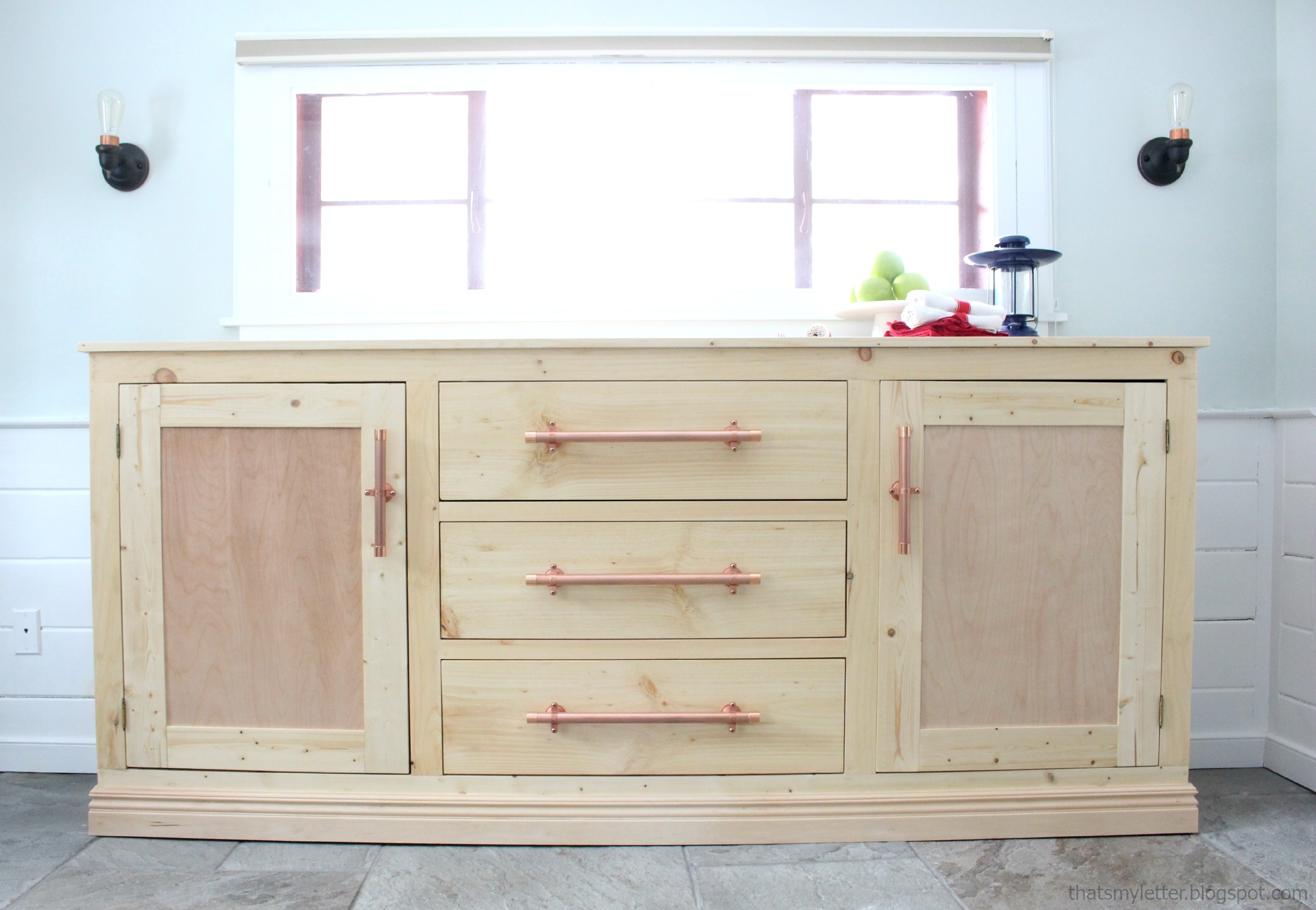 Ana White | Extra Long Buffet Cabinet - Diy Projects within 4 Door Wood Squares Sideboards (Image 1 of 30)