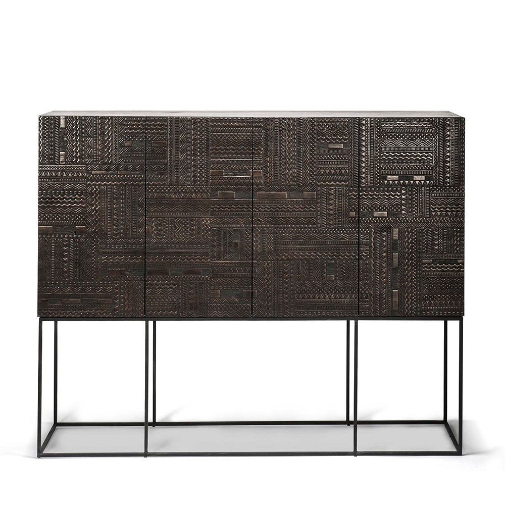 Ancestors Tabwa Sideboard High - Ethnicraft in Carved 4 Door Metal Frame Sideboards (Image 3 of 30)