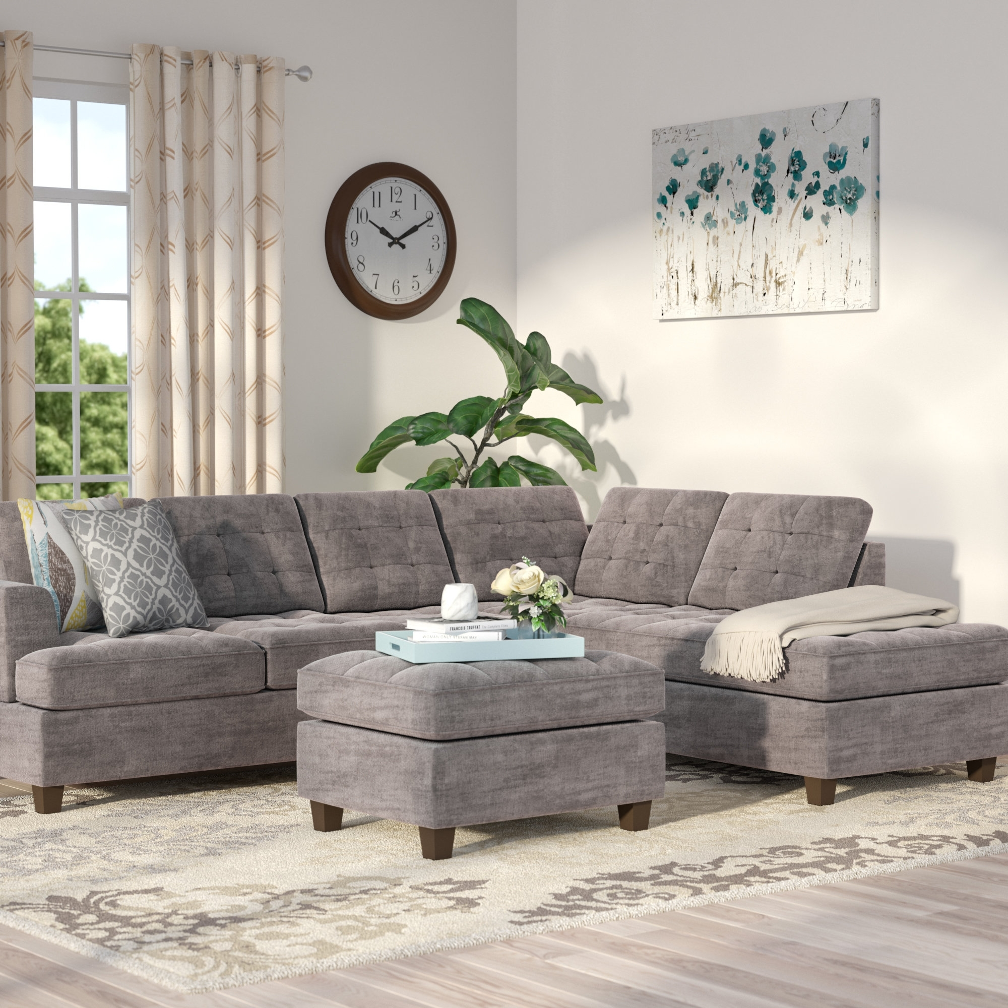Andover Mills Gabbard Reversible Sectional With Ottoman & Reviews pertaining to Norfolk Grey 6 Piece Sectionals (Image 4 of 30)