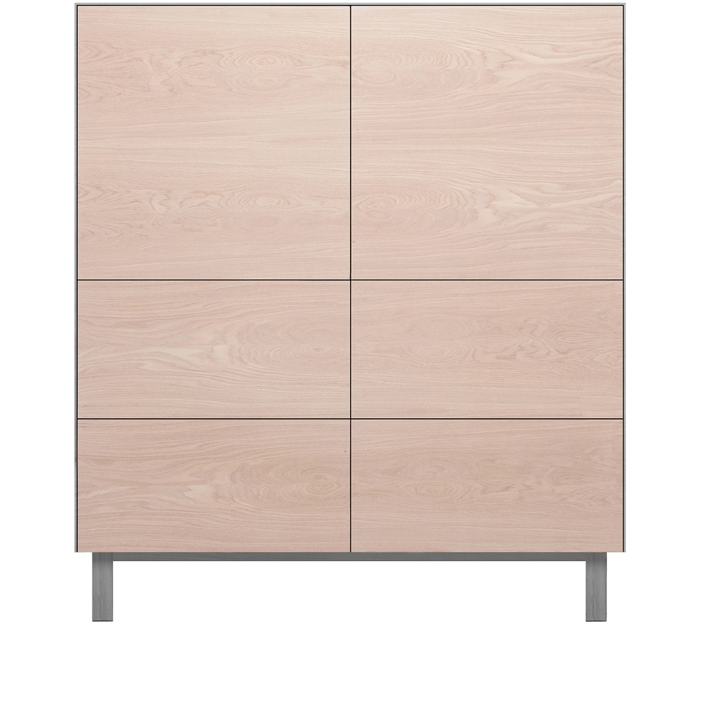 Another Brand Cubo Square Cabinet 2 Doors & 4 Drawers - Oak/grey inside 4 Door Wood Squares Sideboards (Image 2 of 30)