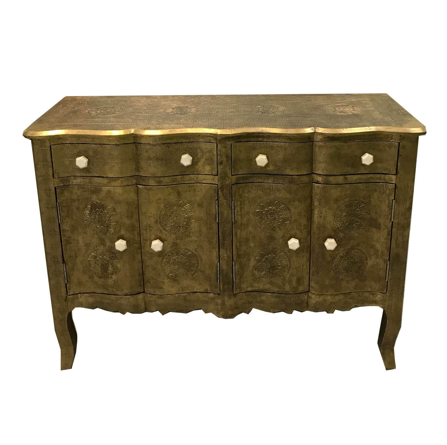 Antique Brass Embossed Wave Fronted Sideboard | Iris Furnishing with Open Shelf Brass 4-Drawer Sideboards (Image 2 of 30)