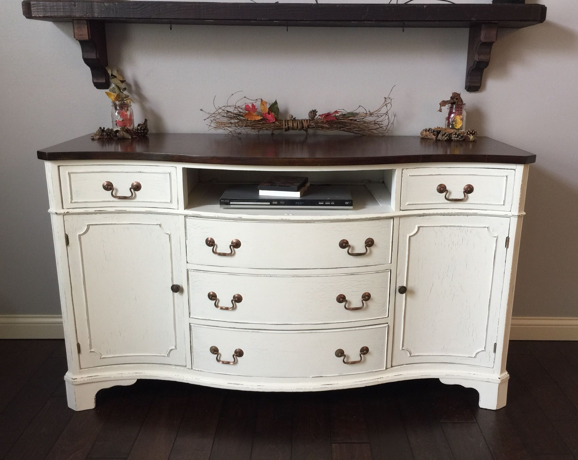 Antique Buffet / Sideboard Lightly Distressed. Her Dainties Valspar pertaining to Satin Black & Painted White Sideboards (Image 2 of 30)