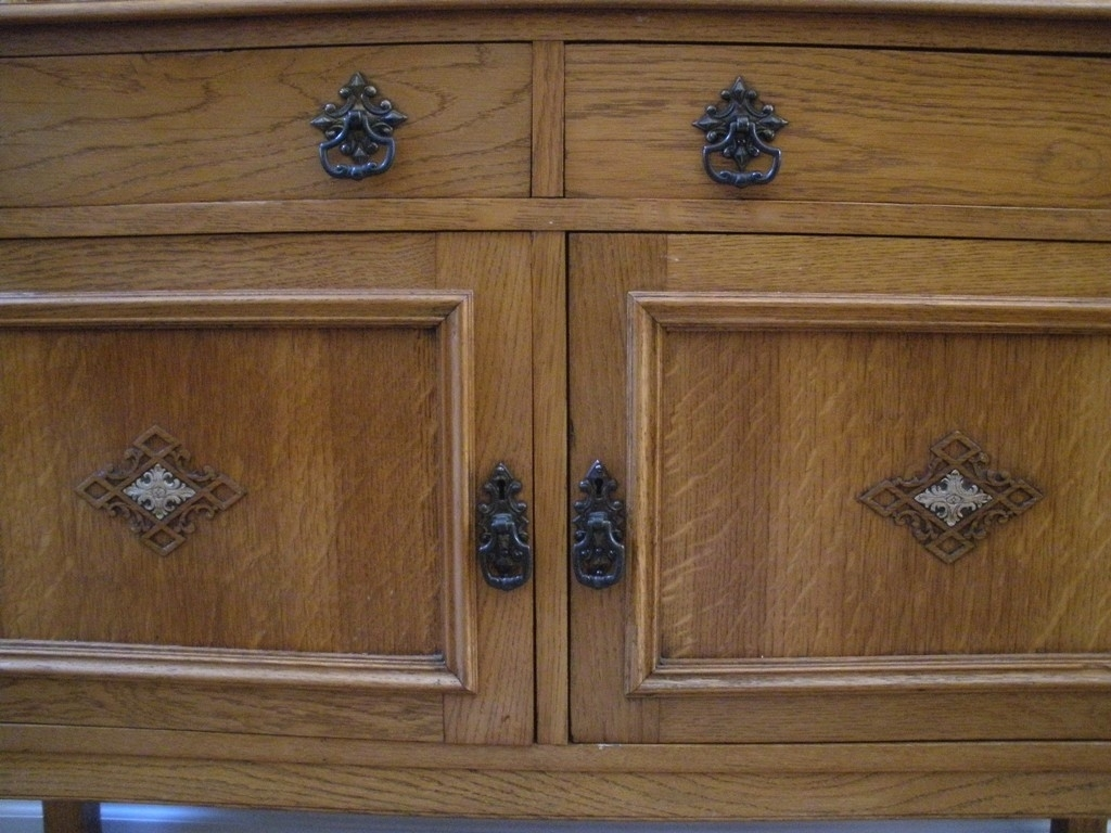 Antique English Oak Barley Twist Mirror Back Sideboard, Server for Aged Mirrored 2 Door Sideboards (Image 3 of 30)
