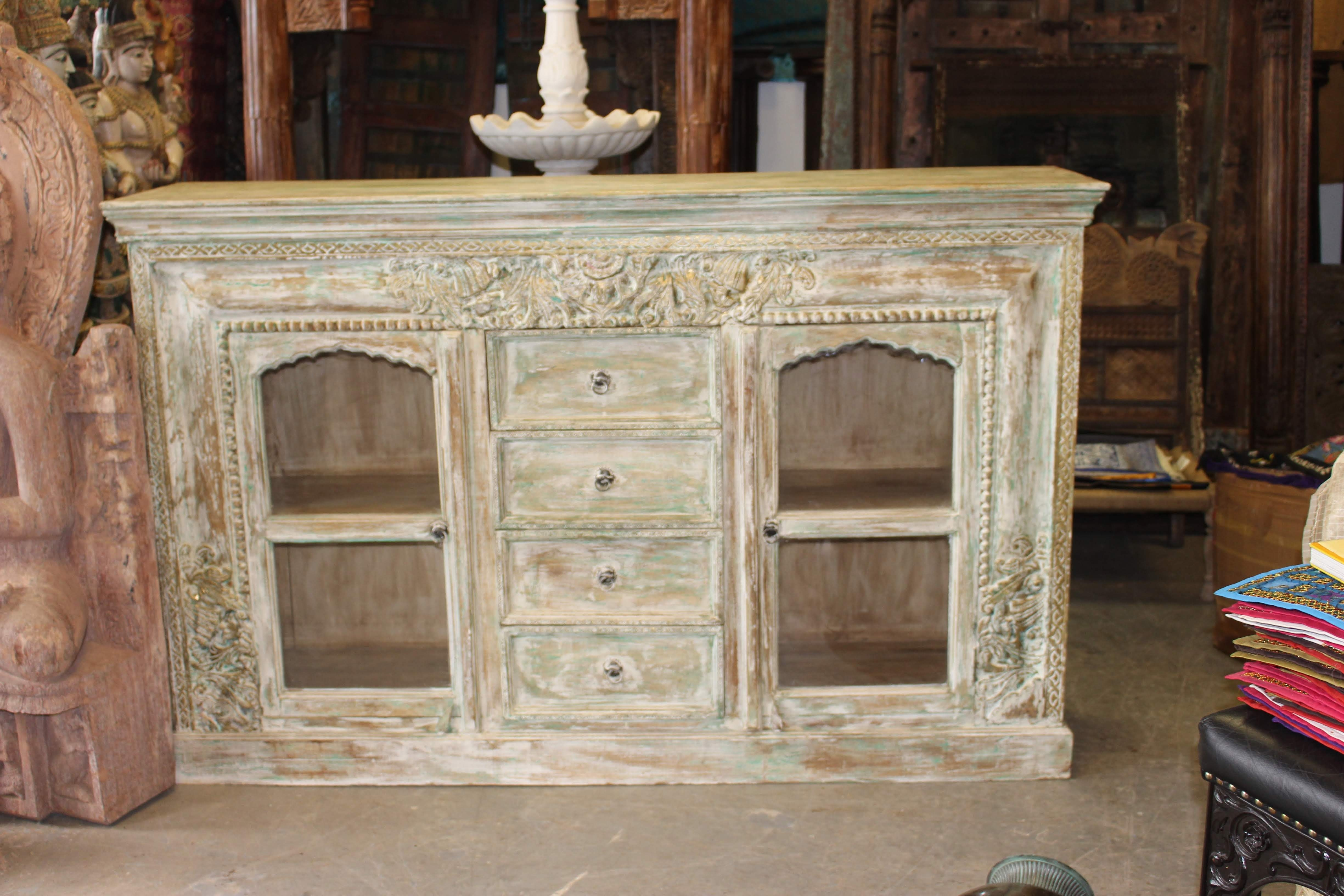 Antique Ivory Carved Brass Inlay Indian Hand Carving Chest 4 Drawer in White Wash 4-Door Sideboards (Image 2 of 30)