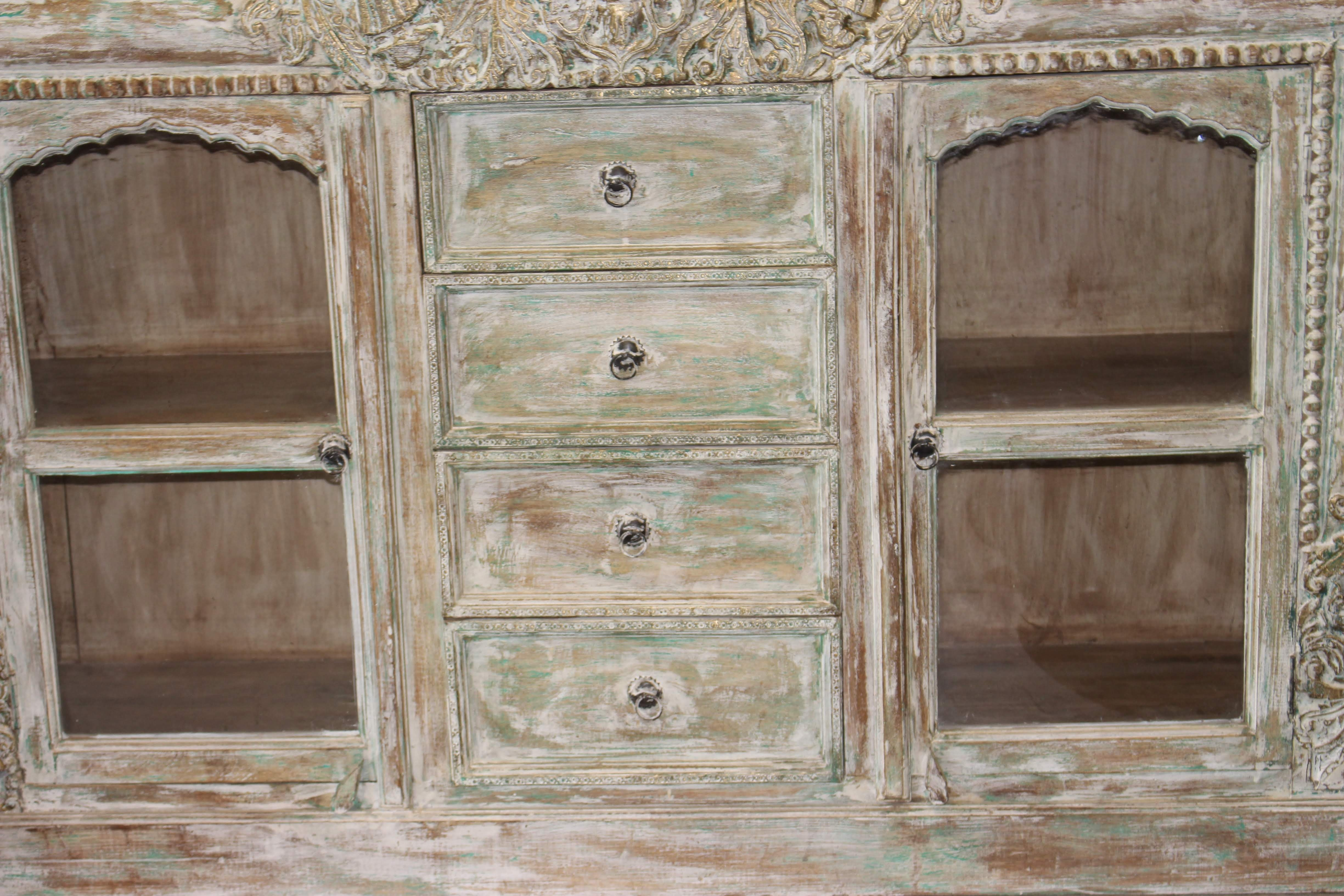 Antique Ivory Carved Brass Inlay Indian Hand Carving Chest 4 Drawer Regarding 2 Door White Wash Sideboards (View 4 of 30)
