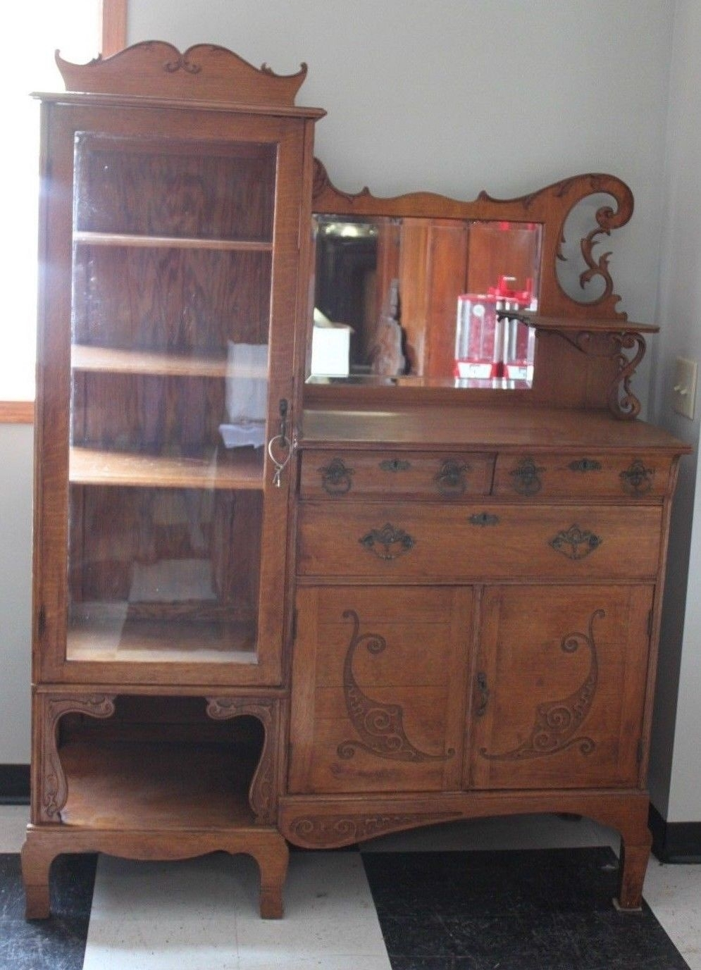 Antique Oak Glass Door Beveled Mirror China Buffet Sideboard With intended for Aged Mirrored 4 Door Sideboards (Image 2 of 30)