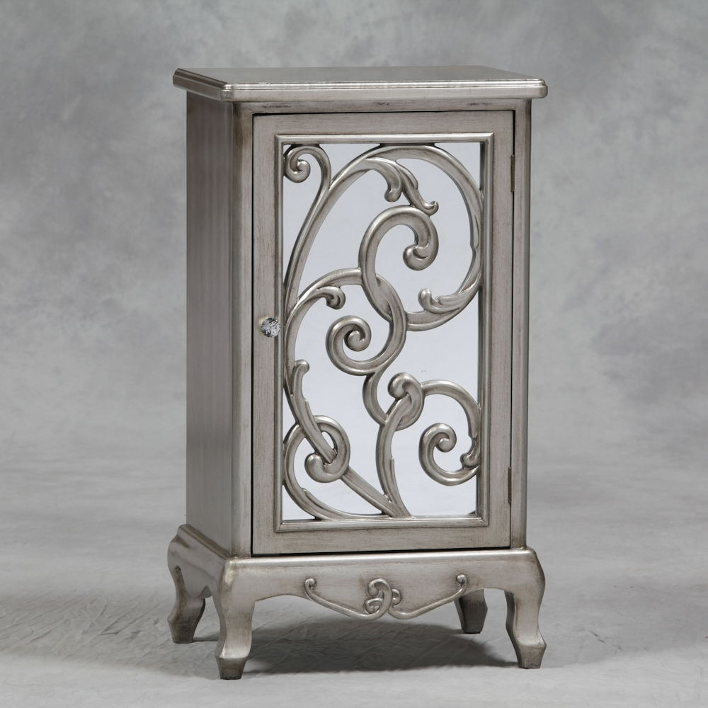 Antique Silver Rococo Cabinet With Mirror Door And Crystal Handl in Aged Mirrored 4 Door Sideboards (Image 3 of 30)