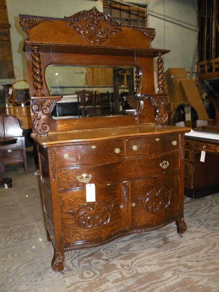 Antique Walnut Hunt Cabinet Hutch Buffet Server Sideboard Carved regarding Antique Walnut Finish 2-Door/4-Drawer Sideboards (Image 4 of 30)