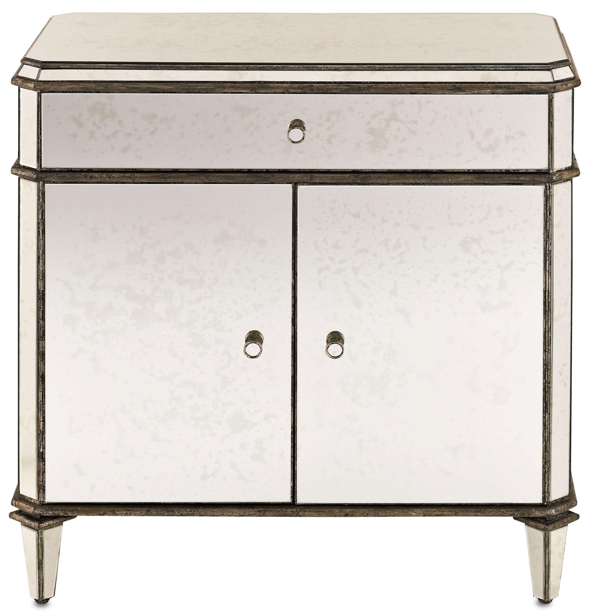 Antiqued Mirror Sideboard | Currey And Company within Aged Mirrored 2 Door Sideboards (Image 5 of 30)