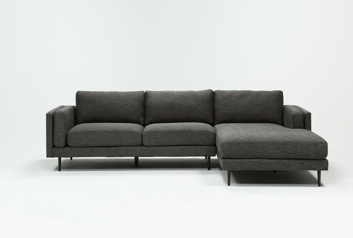 Aquarius Dark Grey 2 Piece Sectional W/raf Chaise | Living Spaces within Aquarius Light Grey 2 Piece Sectionals With Laf Chaise (Image 6 of 30)