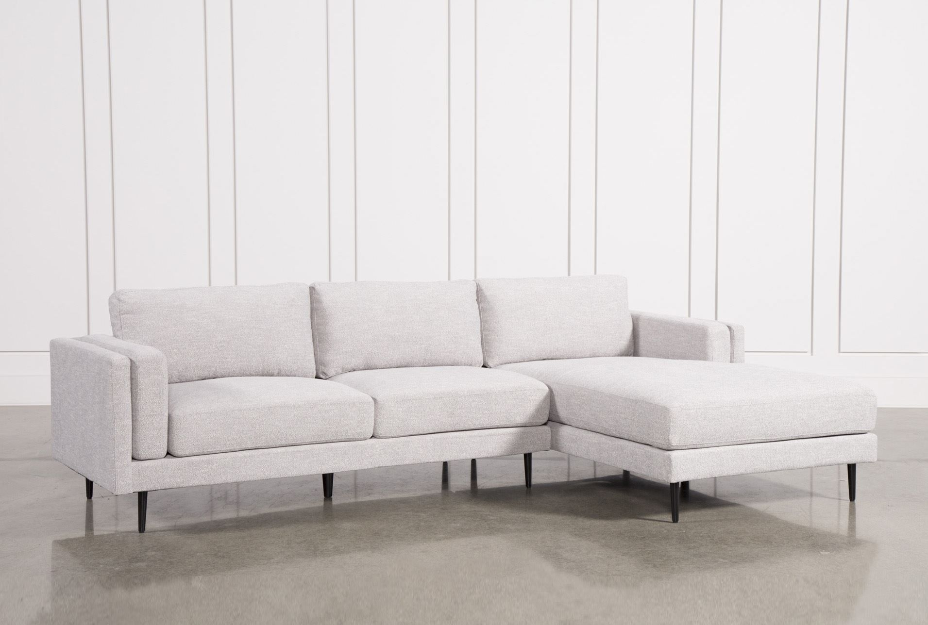 Aquarius Light Grey 2 Piece Sectional W/raf Chaise | Actual Sf intended for Benton 4 Piece Sectionals (Image 1 of 30)