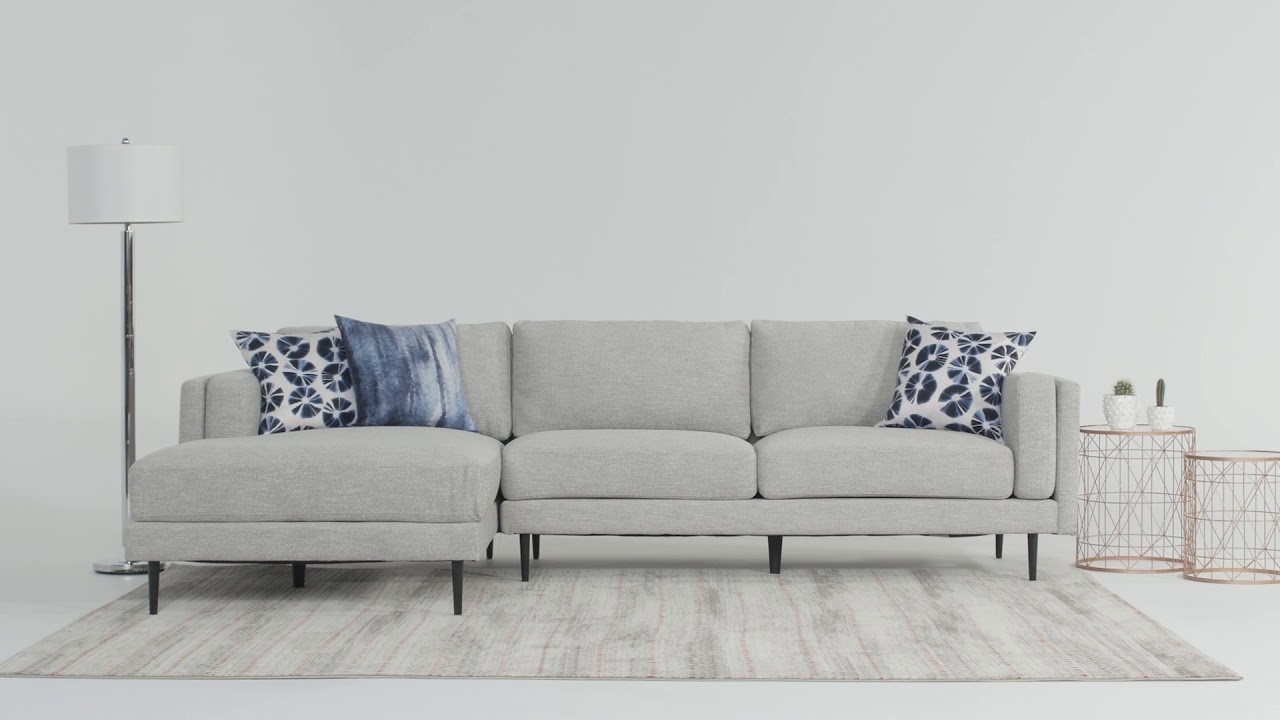 Aquarius Sectional | Living Spaces - Youtube in Aquarius Light Grey 2 Piece Sectionals With Laf Chaise (Image 9 of 30)