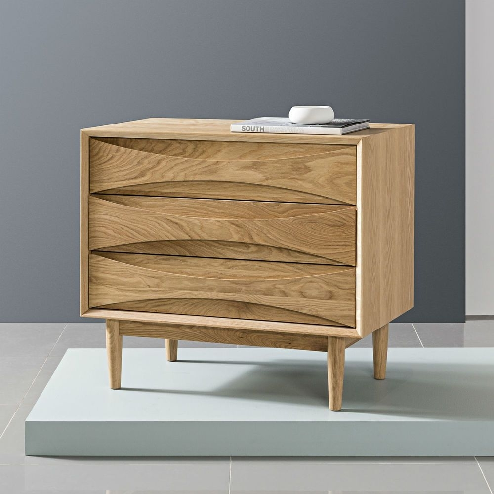 Arne 3 Drawer Cabinet - Solid Oak - 80X45X72Cm // Buy Now Aud$1,699 inside Tobias 4 Door Sideboards (Image 1 of 30)