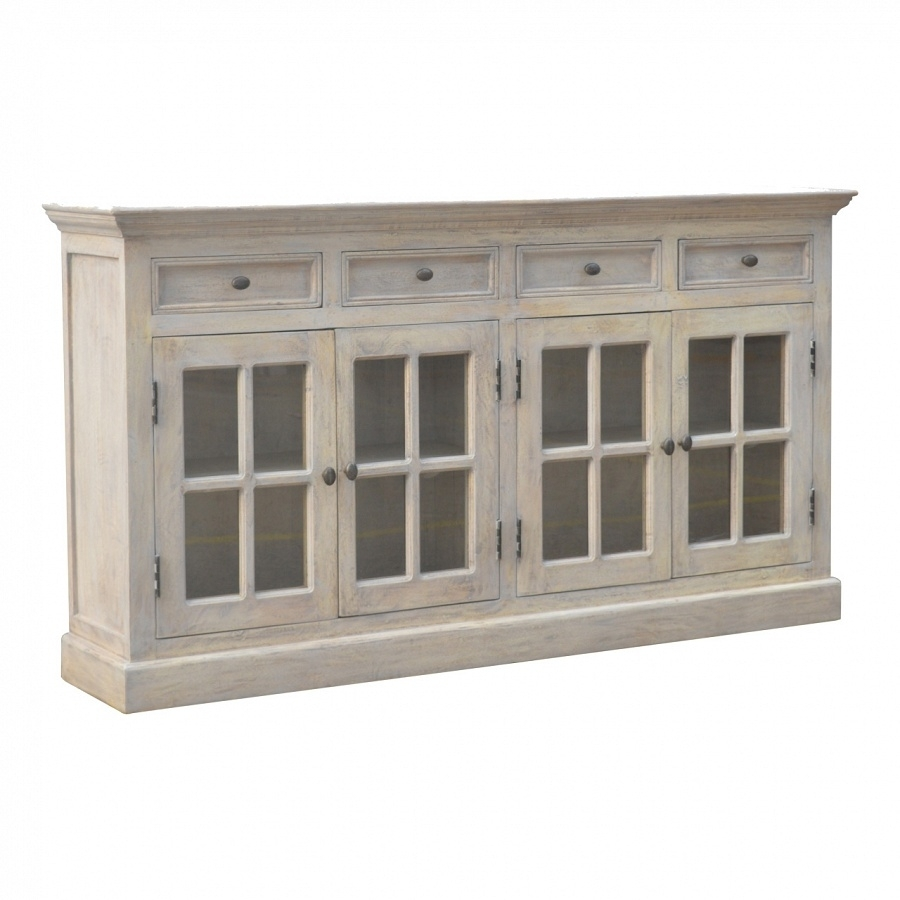 Artisan - Solid Mango Wood 4 Door 4 Drawer Stone Acid Wash Glazed in Mango Wood Grey 4-Drawer 4-Door Sideboards (Image 3 of 30)