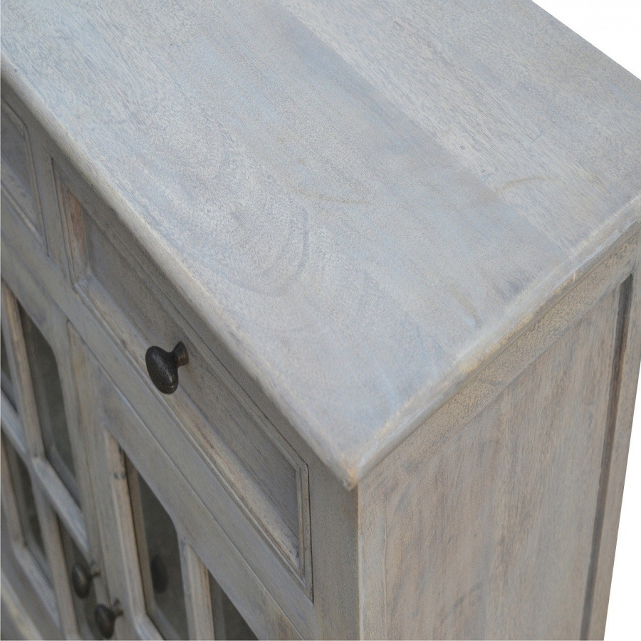 Artisan - Solid Mango Wood 4 Door 4 Drawer Stone Acid Wash Glazed pertaining to Mango Wood Grey 4-Drawer 4-Door Sideboards (Image 4 of 30)